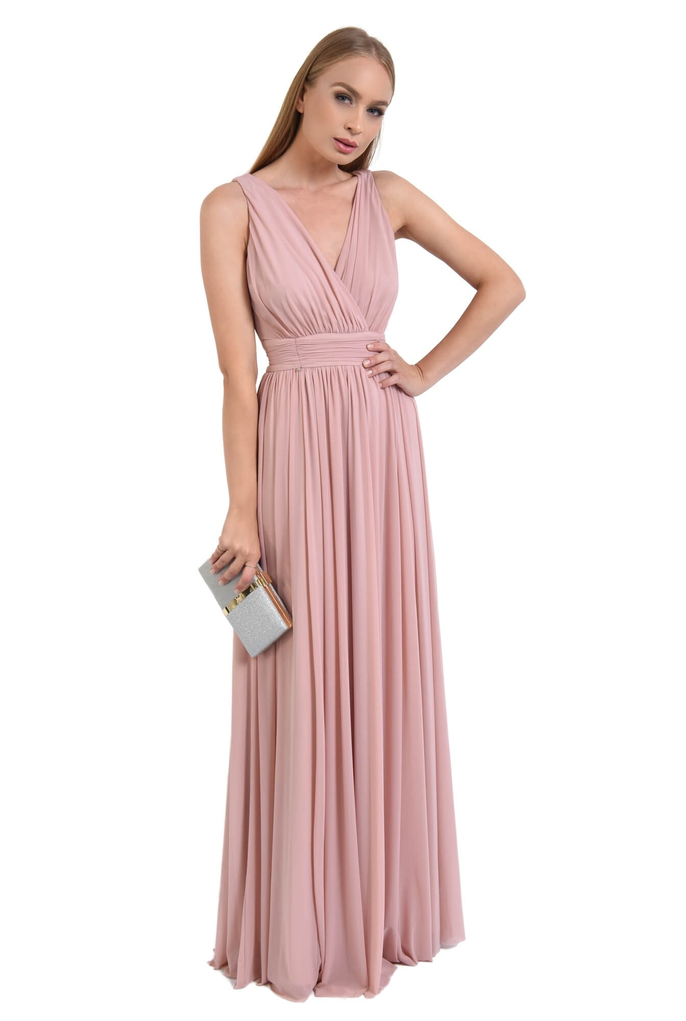 0 - rochie de seara, lunga, tul, roz, spate gol