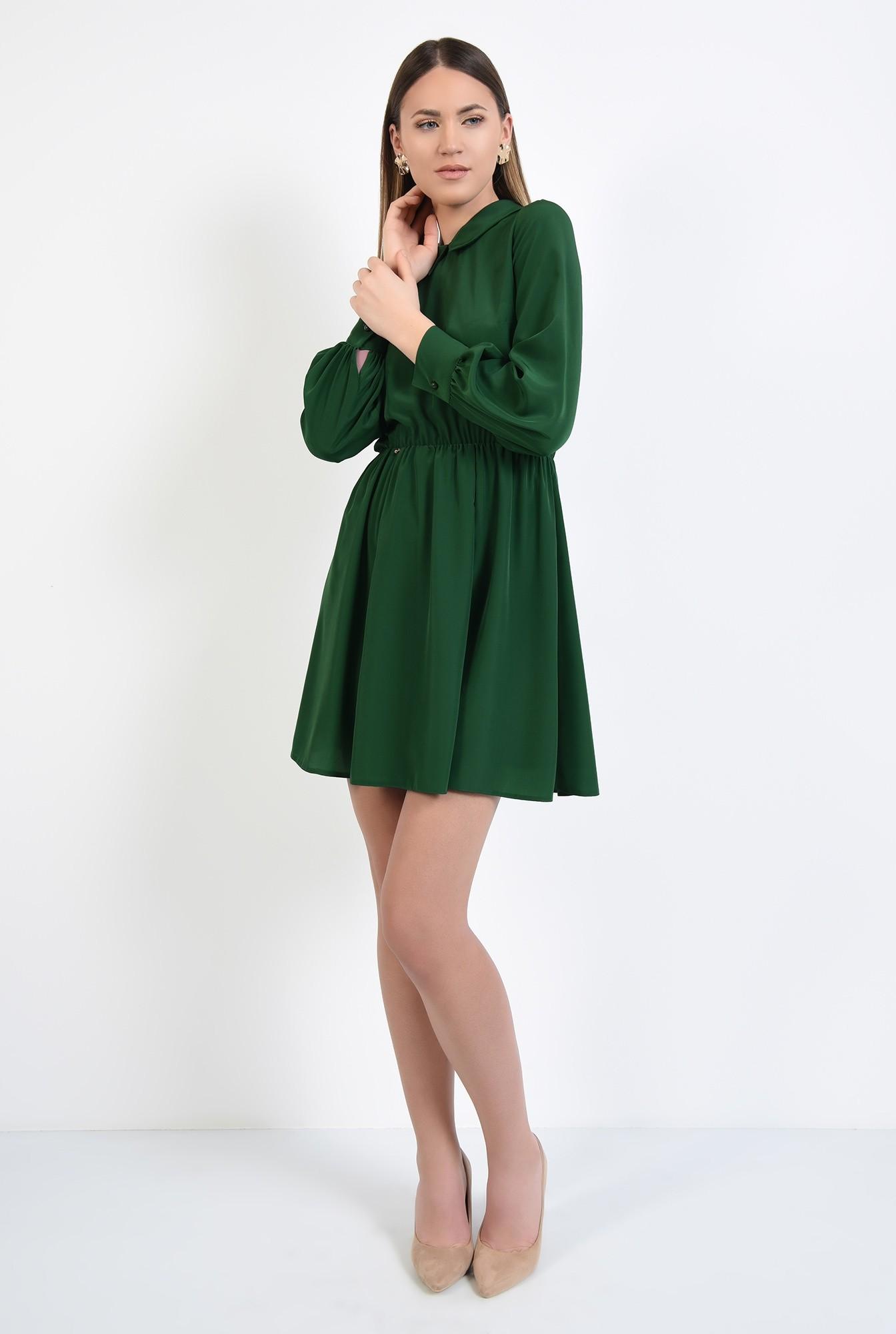 3 - rochie scurta, evazata, clos, talie pe elastic, guler
