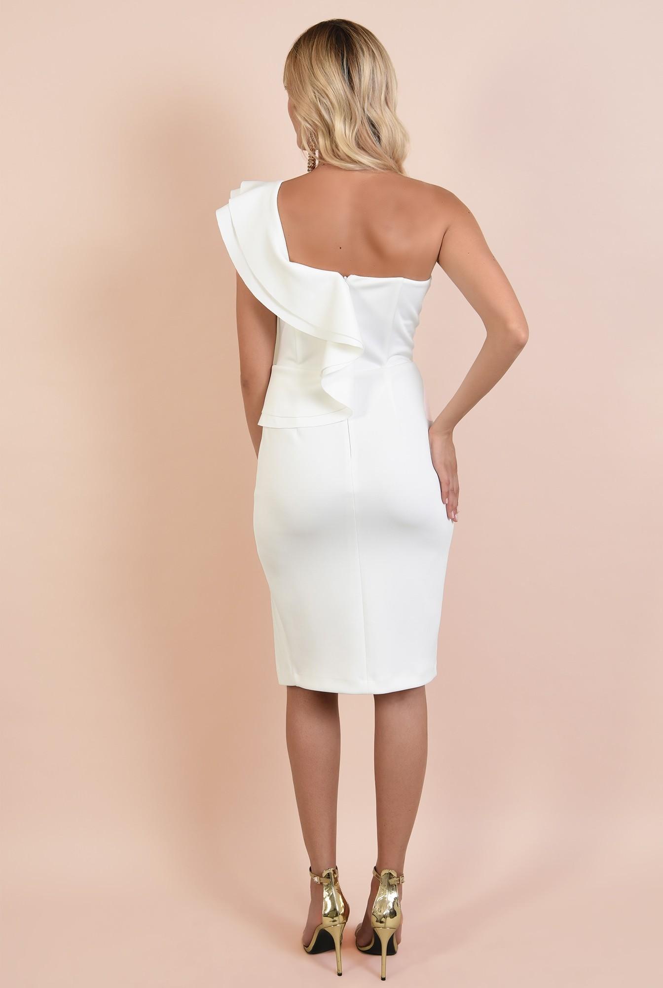 1 - rochie eleganta, midi, croi conic, decolteu cu umar gol, volan, capa