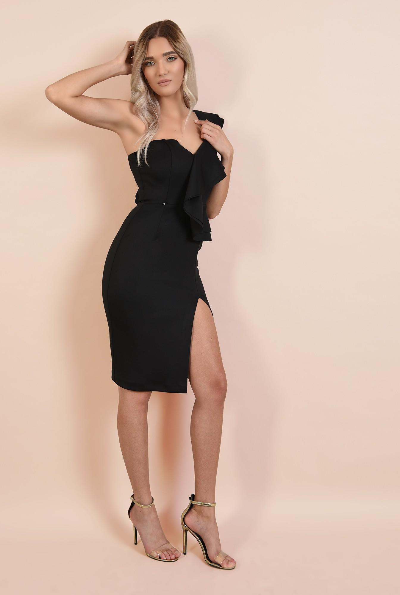 3 - rochie eleganta, neagra, midi, croi conic, decolteu cu umar gol si volan, Poema