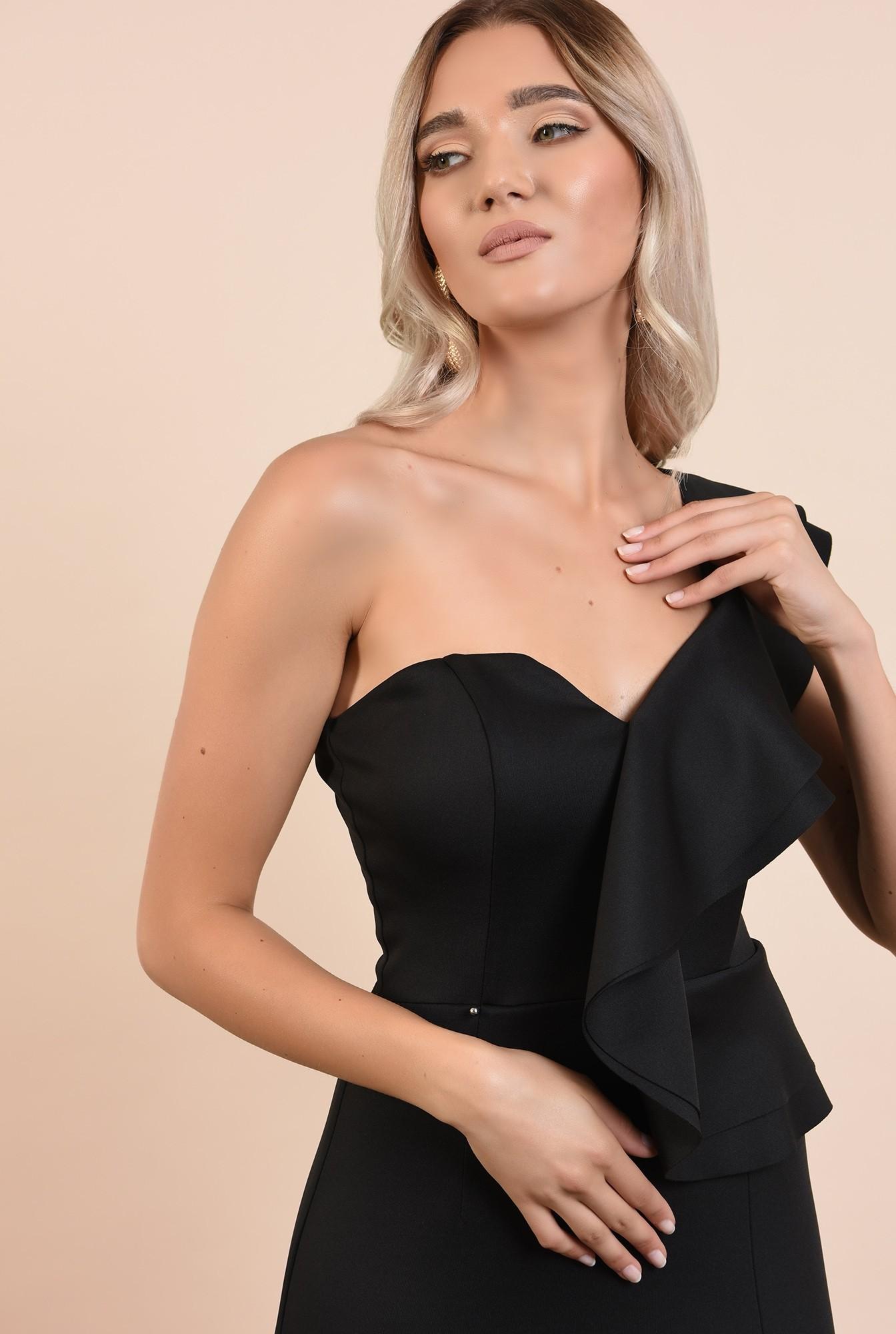 2 - rochie eleganta, neagra, midi, croi conic, decolteu cu umar gol si volan, Poema