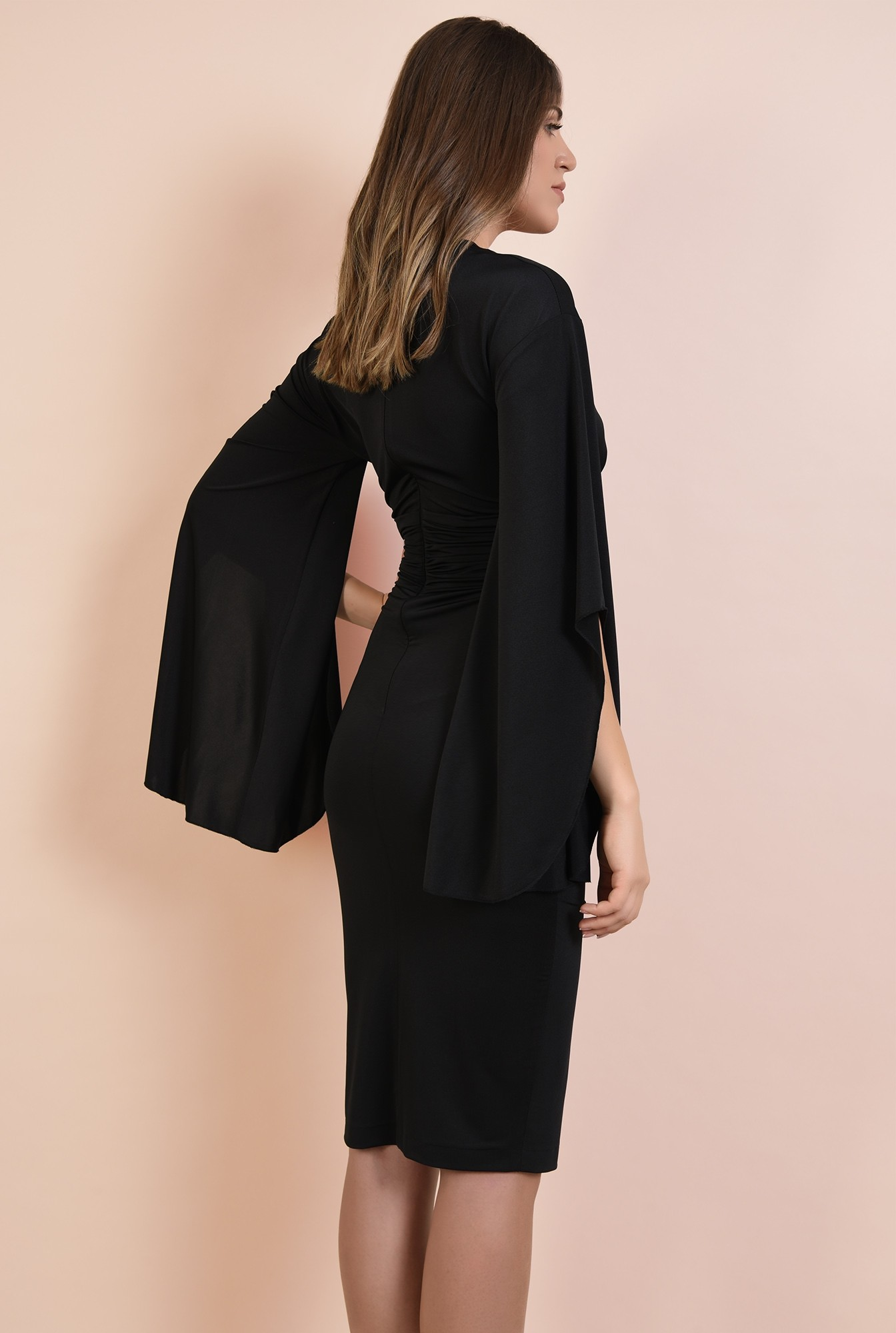 1 - rochie eleganta, midi, conica, maneci fantezie, talie fronsata, Poema