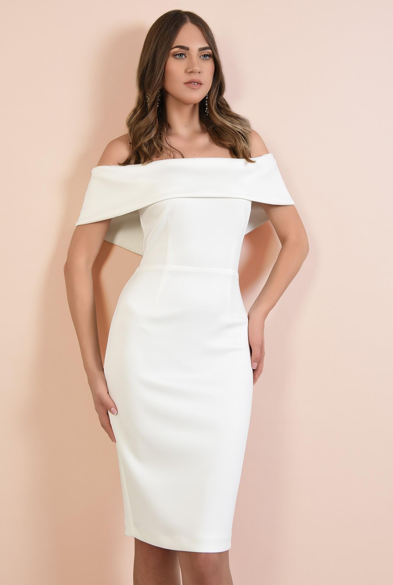 2 - rochie eleganta, midi, croi conic, decolteu cu umeri goi si capa, Poema