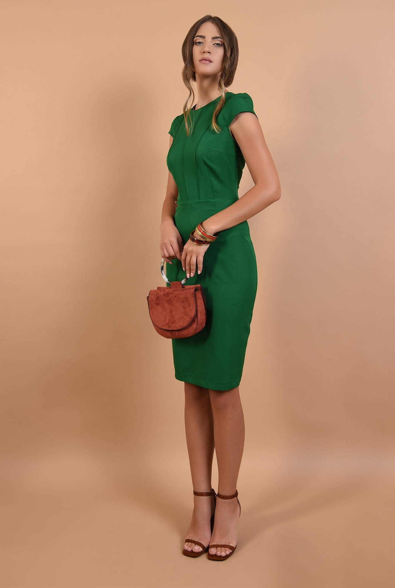 3 - rochie verde, office, conica, midi, cu maneci capac, cusaturi decorative, Poema