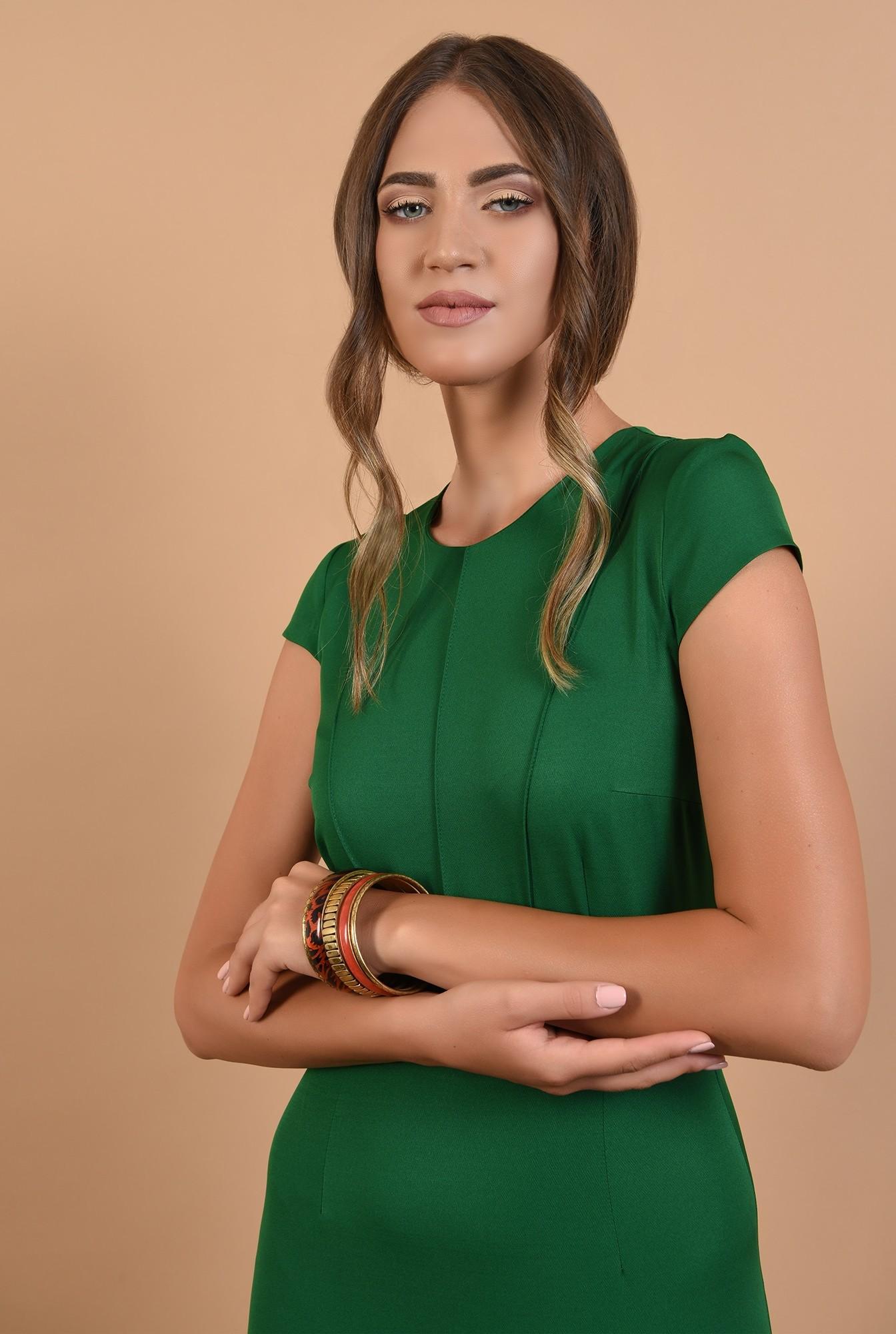 2 - rochie verde, office, conica, midi, cu maneci capac, cusaturi decorative, Poema