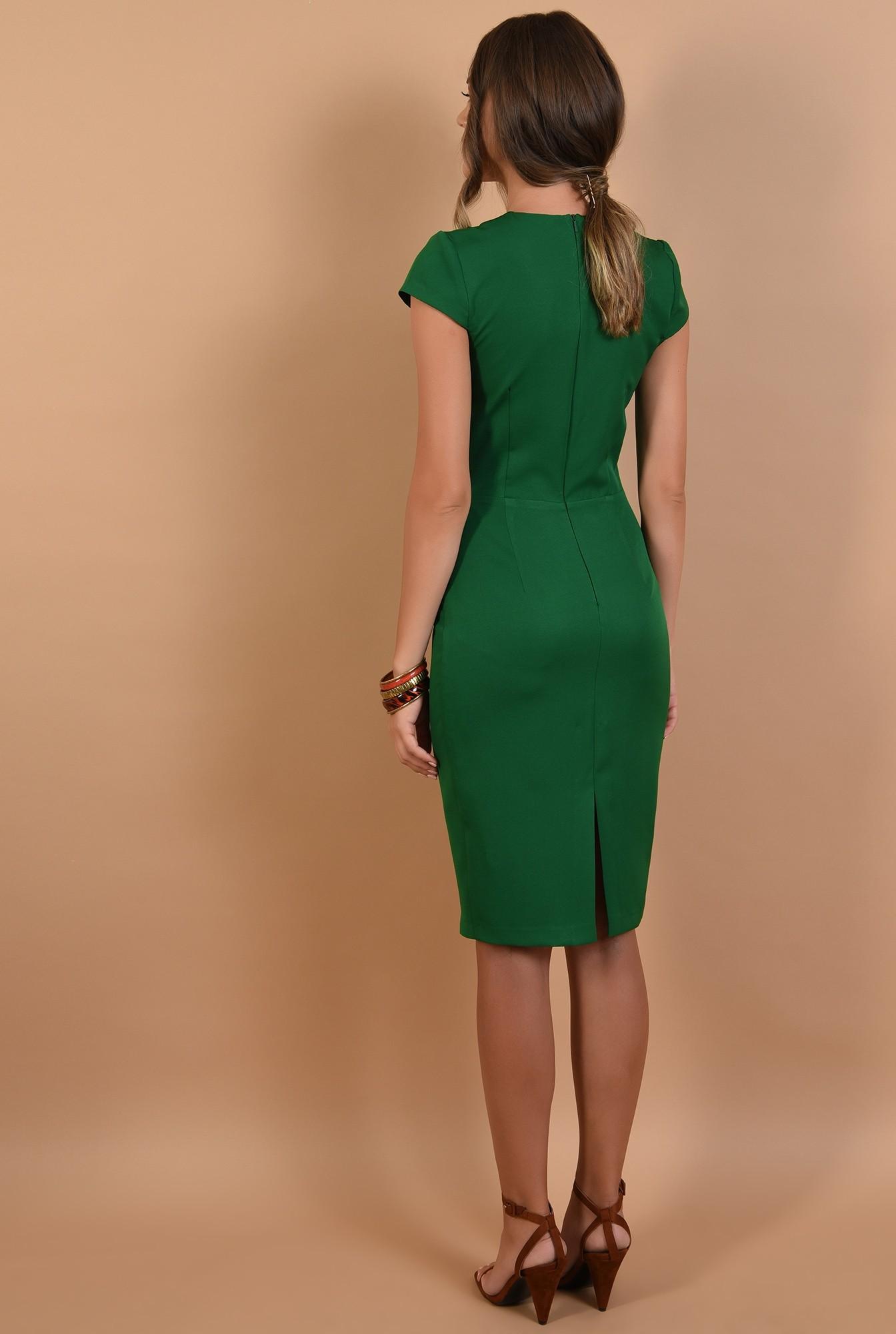 1 - rochie verde, office, conica, midi, cu maneci capac, cusaturi decorative, Poema