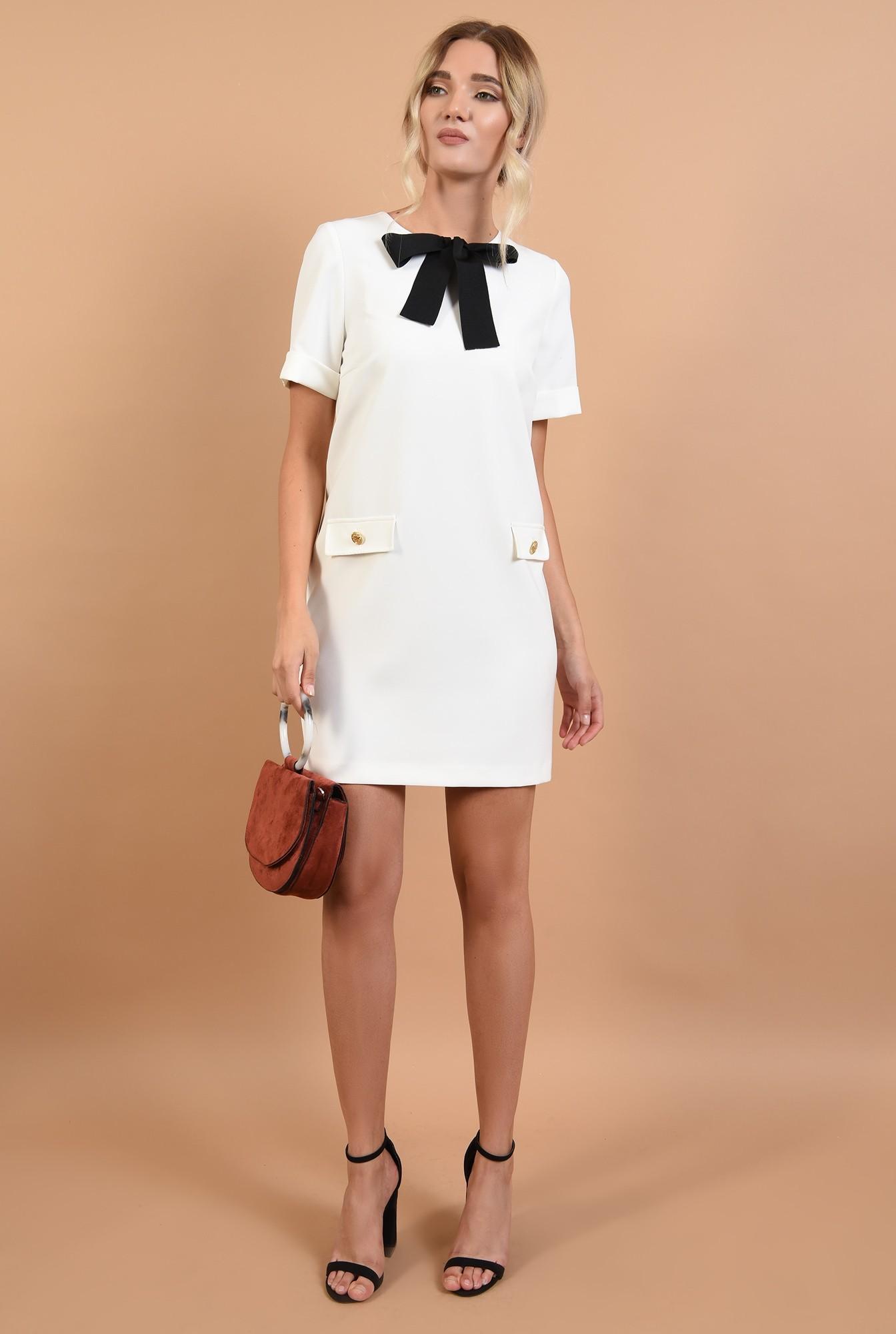 3 - rochie office, mini, dreapta, funda din rips, alb-negru, clape decorative