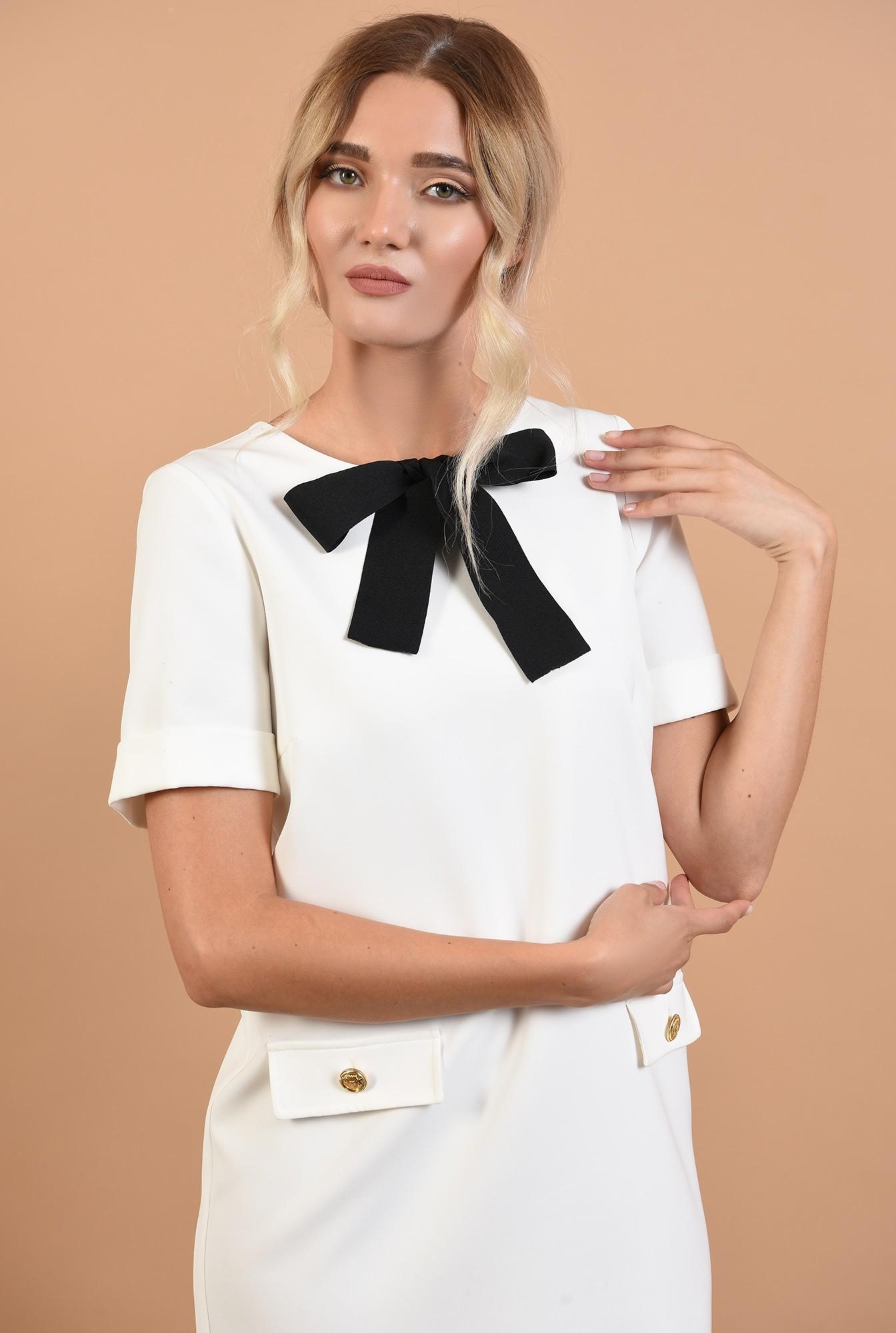 2 - rochie office, mini, dreapta, funda din rips, alb-negru, clape decorative