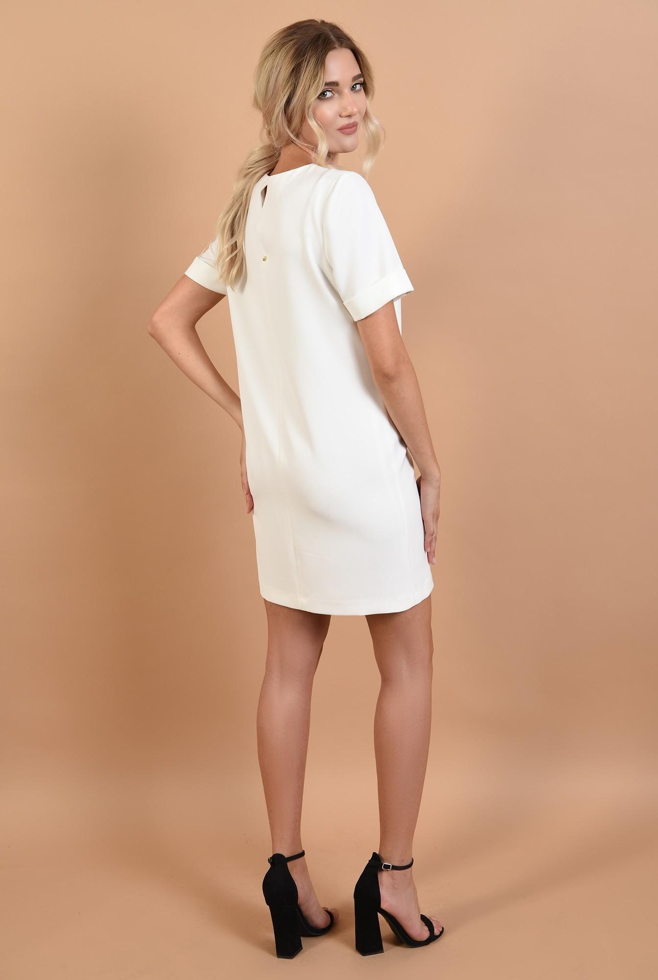 1 - rochie office, mini, dreapta, funda din rips, alb-negru, clape decorative
