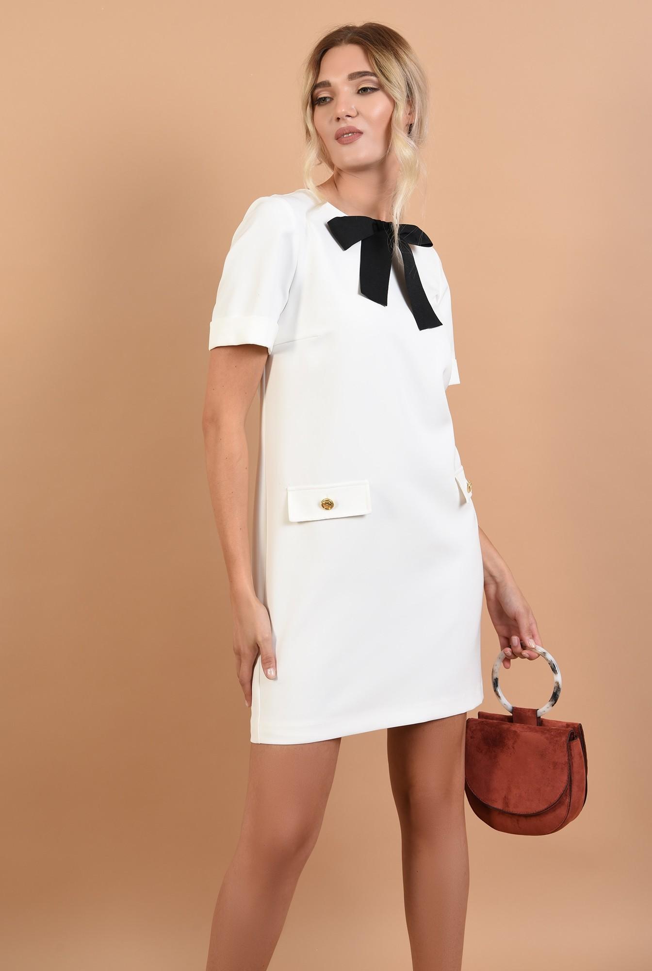 0 - rochie office, mini, dreapta, funda din rips, alb-negru, clape decorative