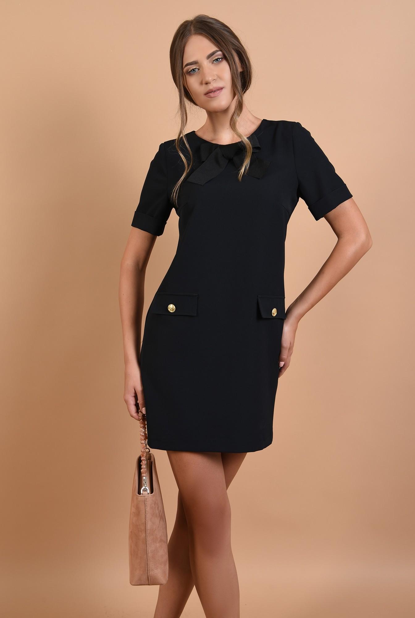 0 - rochie neagra, mini, dreapta, maneci scurte cu mansete