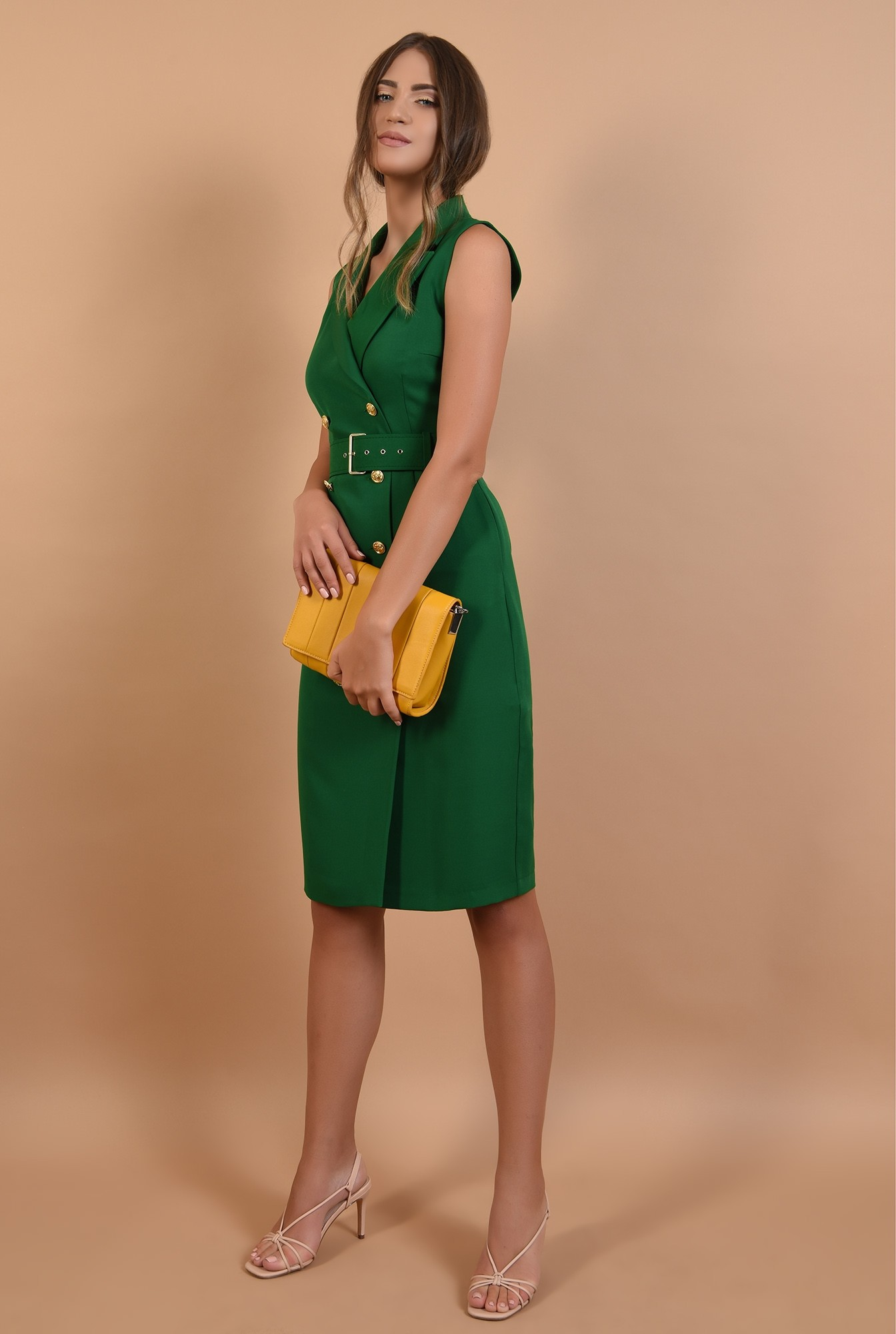 3 - rochie verde, sarafan, office, midi, cu revere, Poema