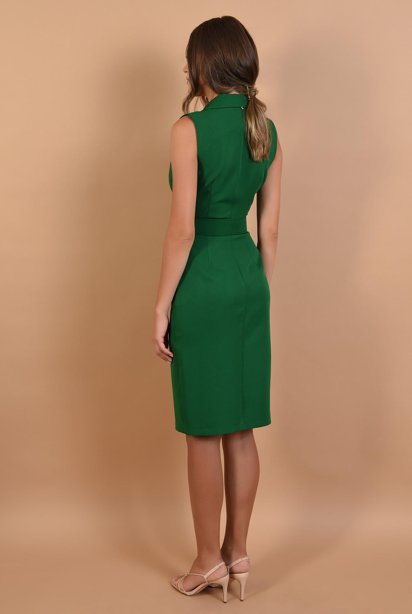 1 - rochie verde, sarafan, office, midi, cu revere, Poema
