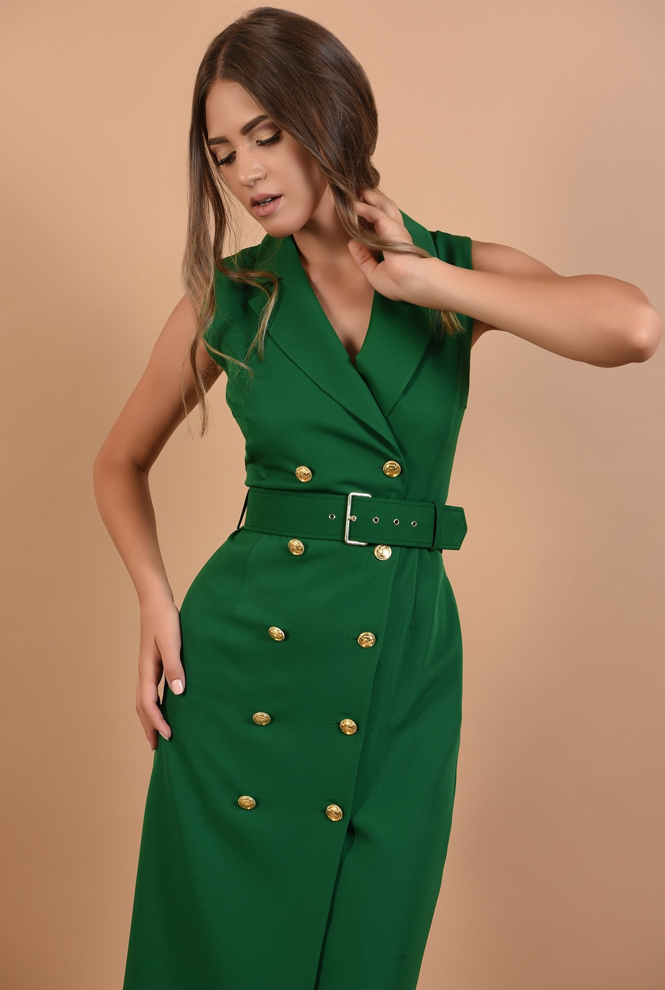 2 - rochie verde, sarafan, office, midi, cu revere, Poema