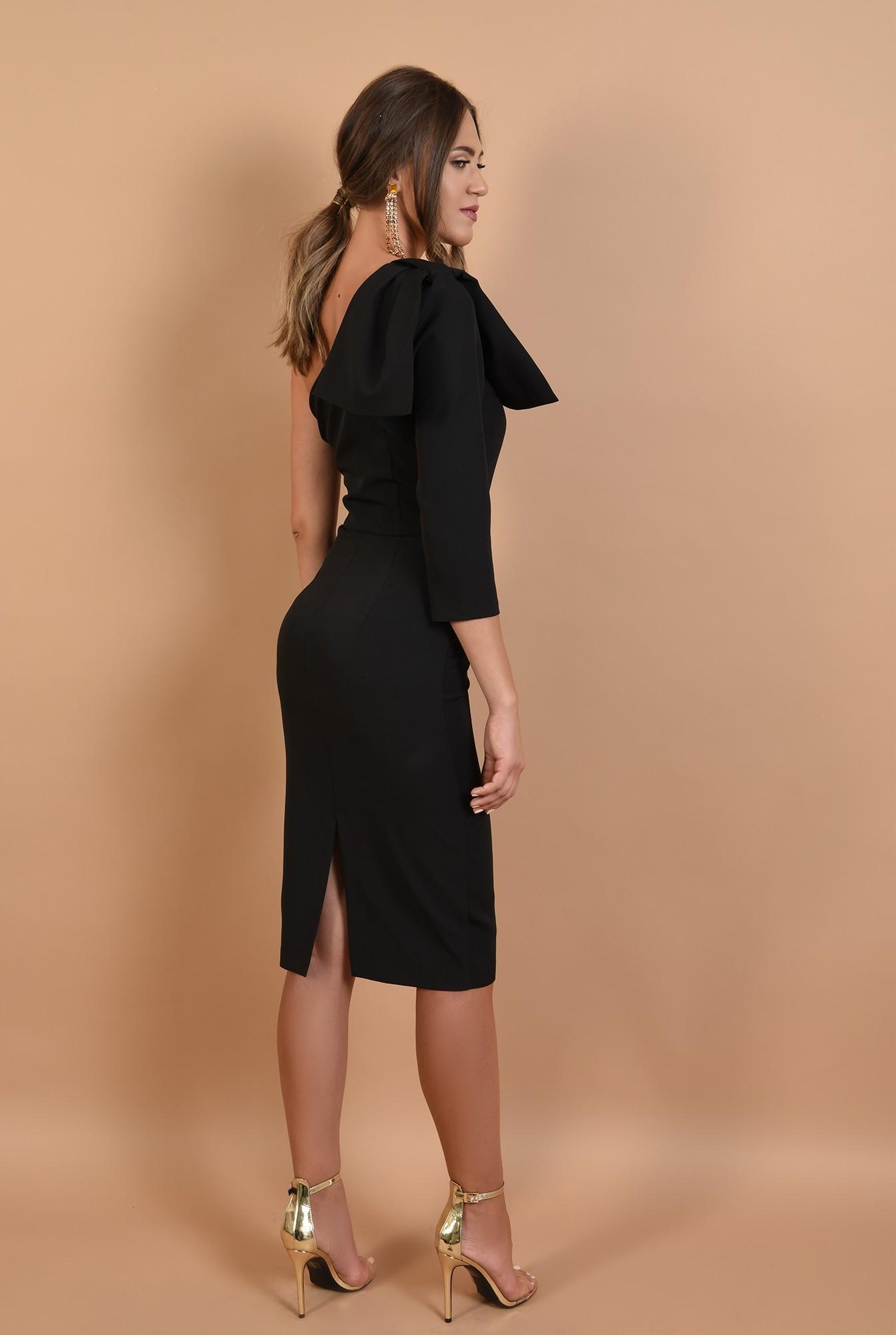 1 - rochie eleganta, cu funda, umar gol, midi