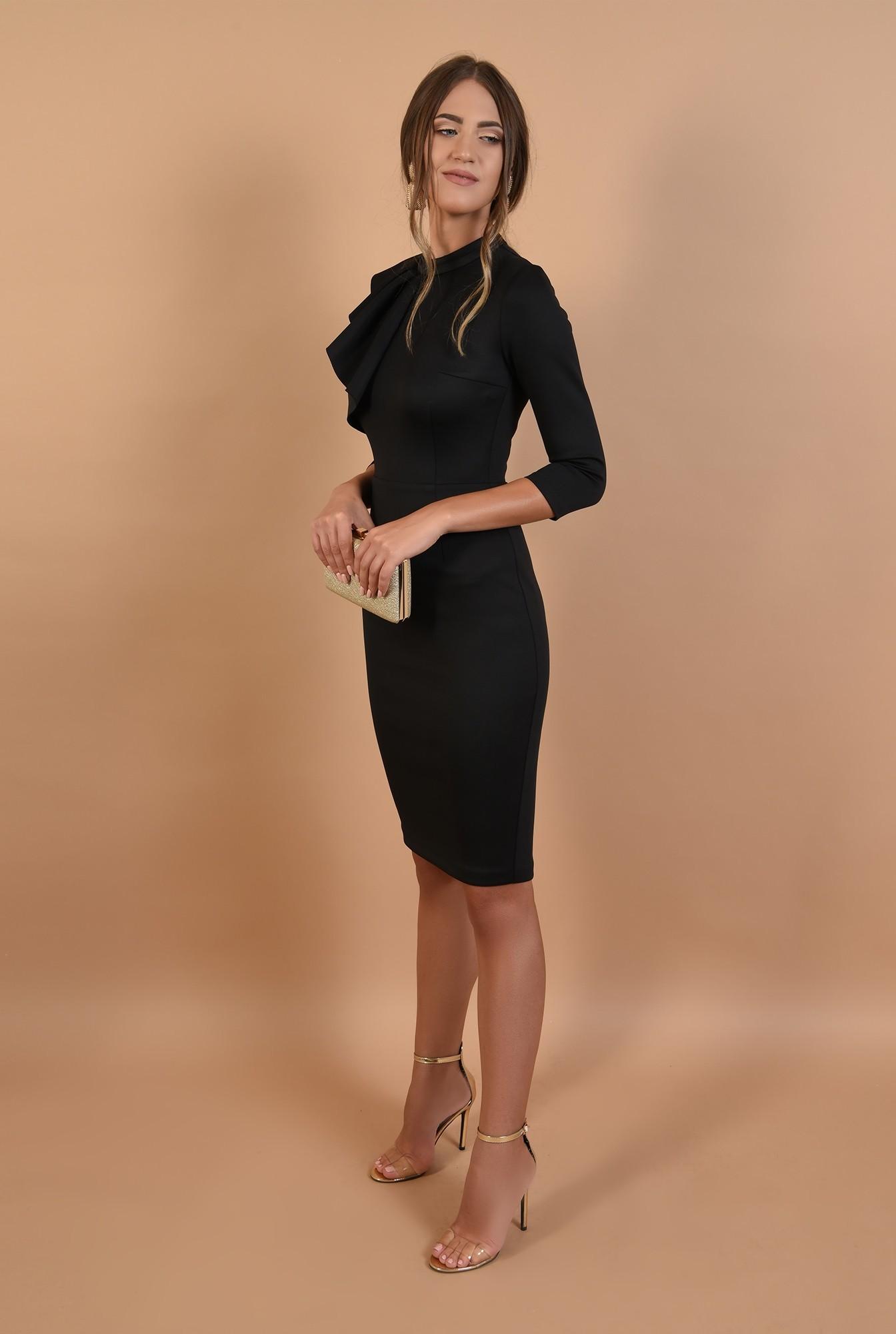 3 - 360 - rochie conica, neagra, midi, aplicatie cu pliuri, guler inalt, Poema