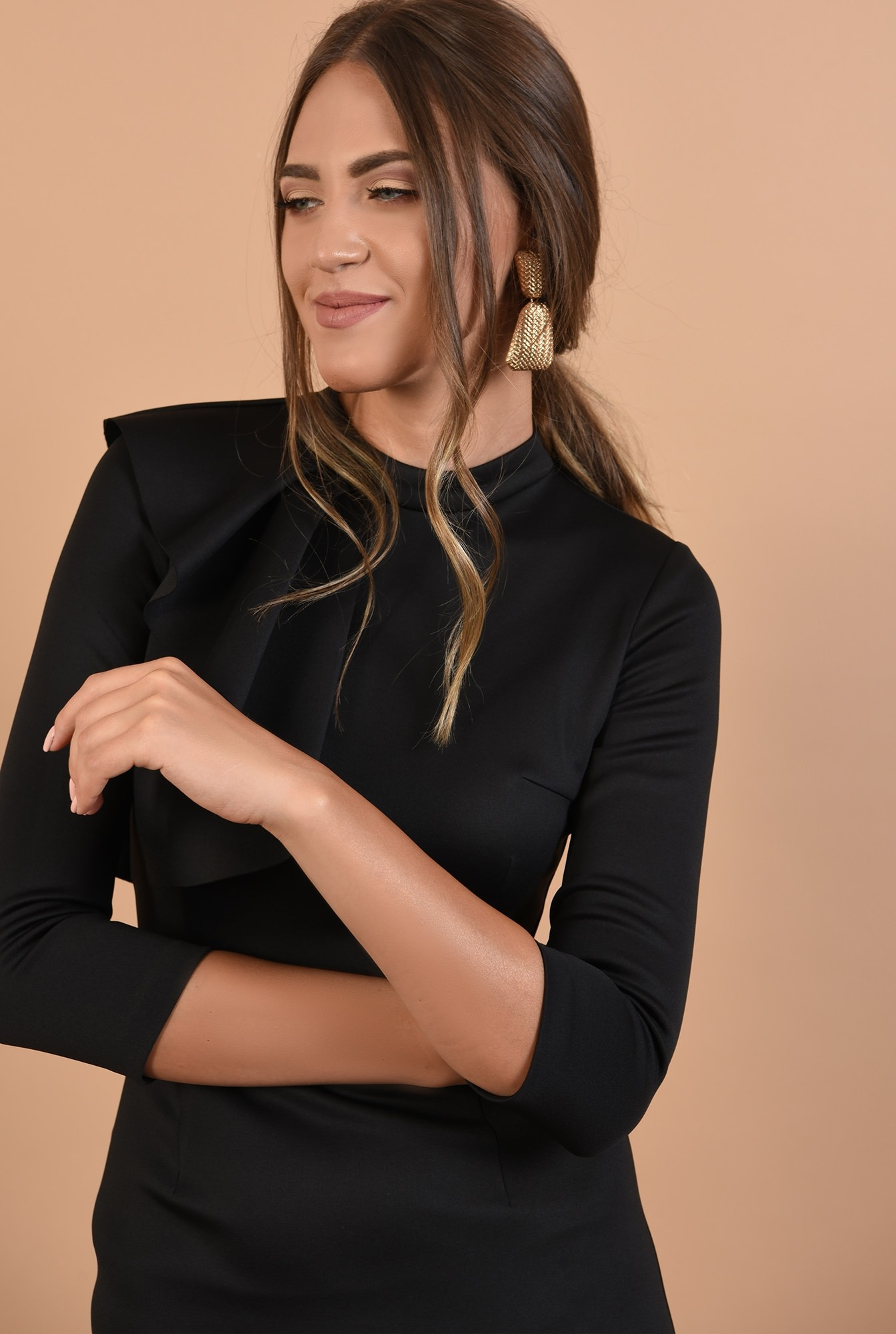 2 - 360 - rochie conica, neagra, midi, aplicatie cu pliuri, guler inalt, Poema