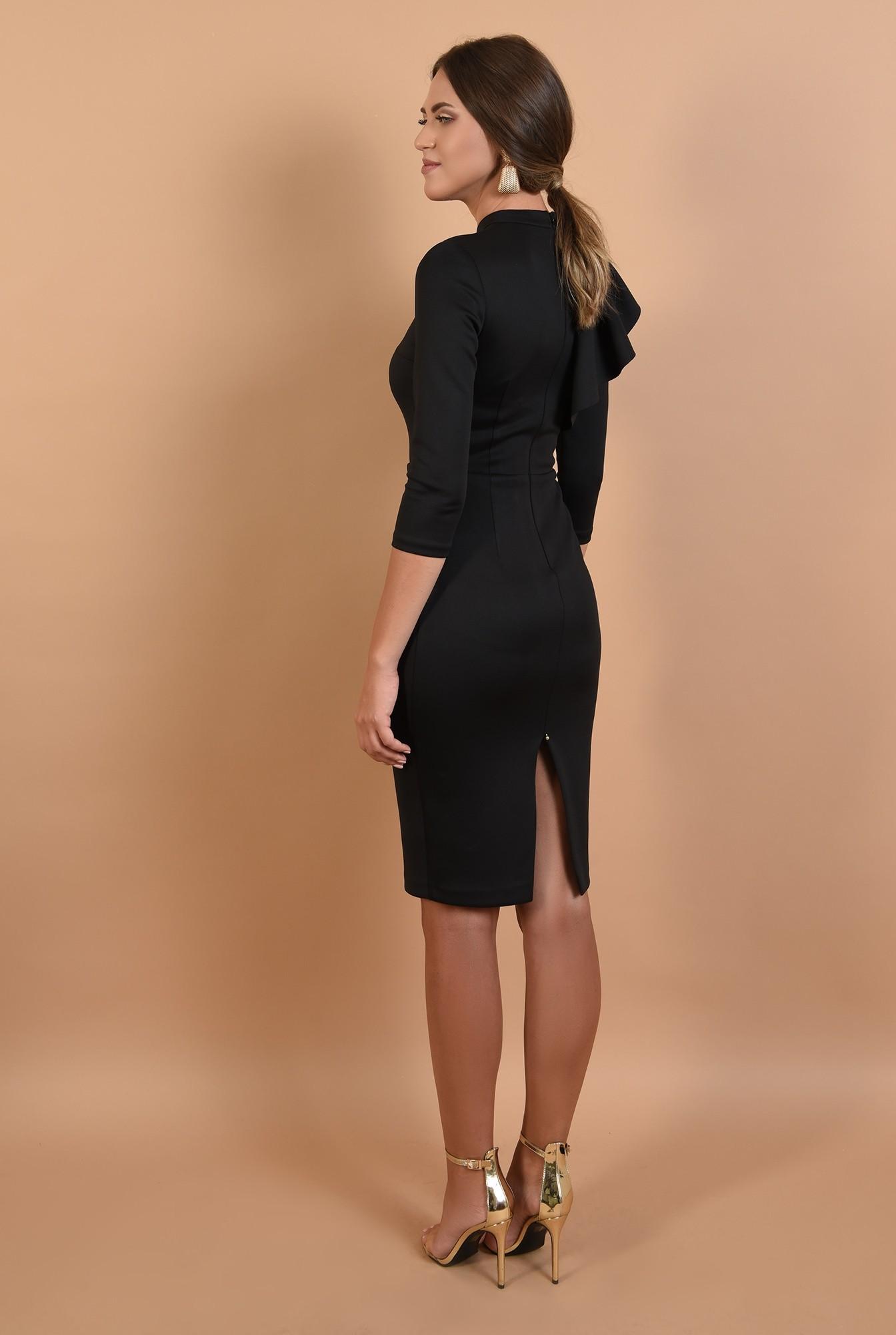 1 - 360 - rochie conica, neagra, midi, aplicatie cu pliuri, guler inalt, Poema