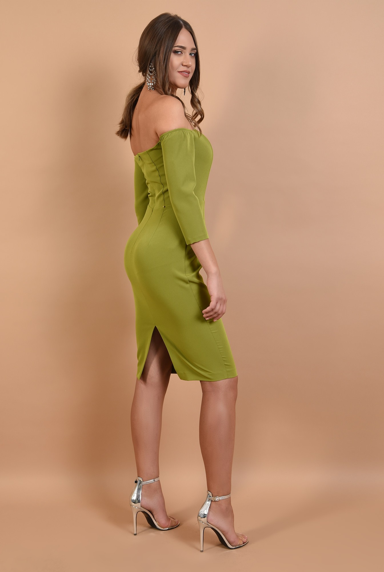 1 - rochie Poema, eleganta, cambrata, cu maneci ajustate, verde lime