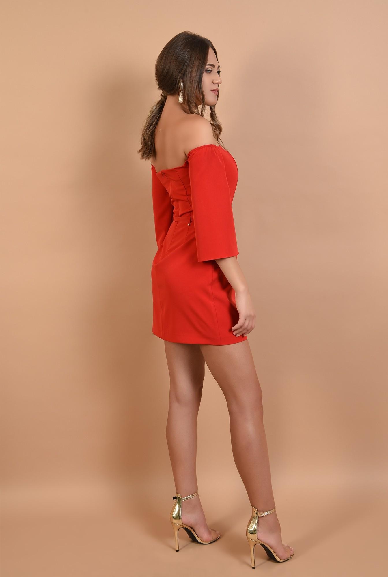 1 - rochie eleganta, mini, rosie, umeri dezgoliti, decolteu inima, Poema