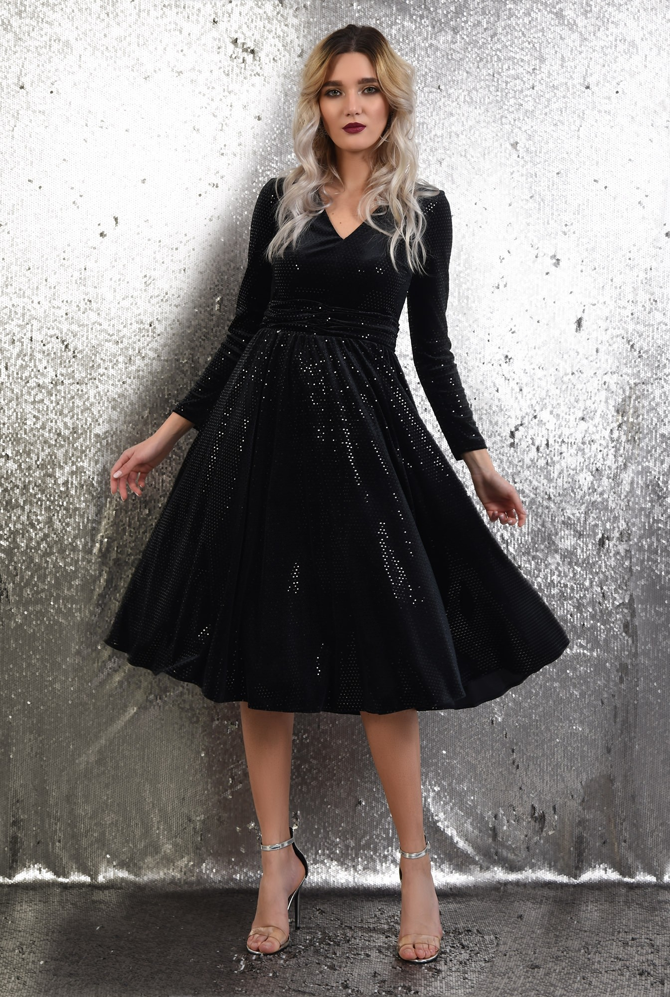3 - 360 - rochie de ocazie, neagra, midi, evazata, anchior, paiete buline