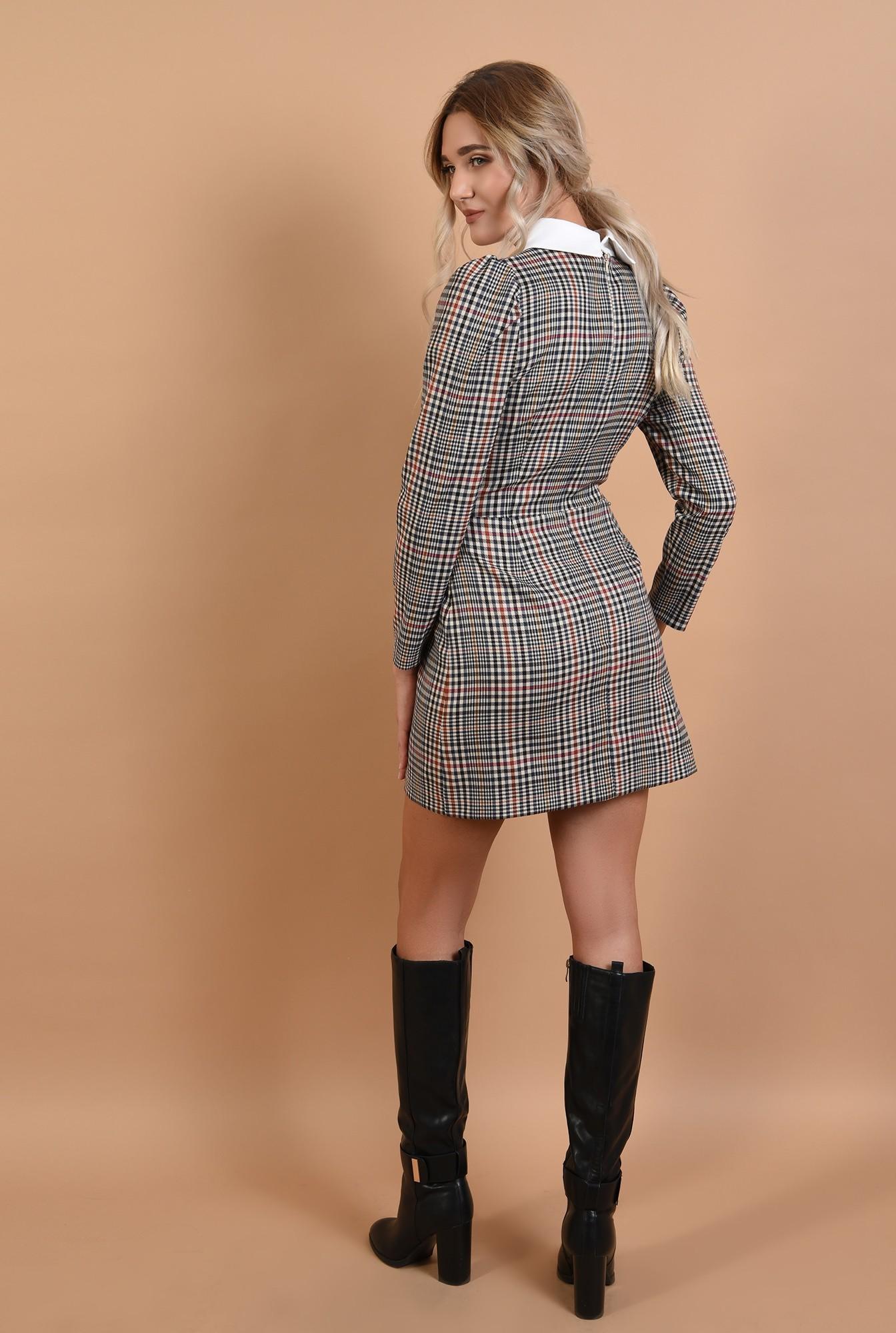 1 - rochie in carouri, cu guler, rochie de zi, scurta, cambrata