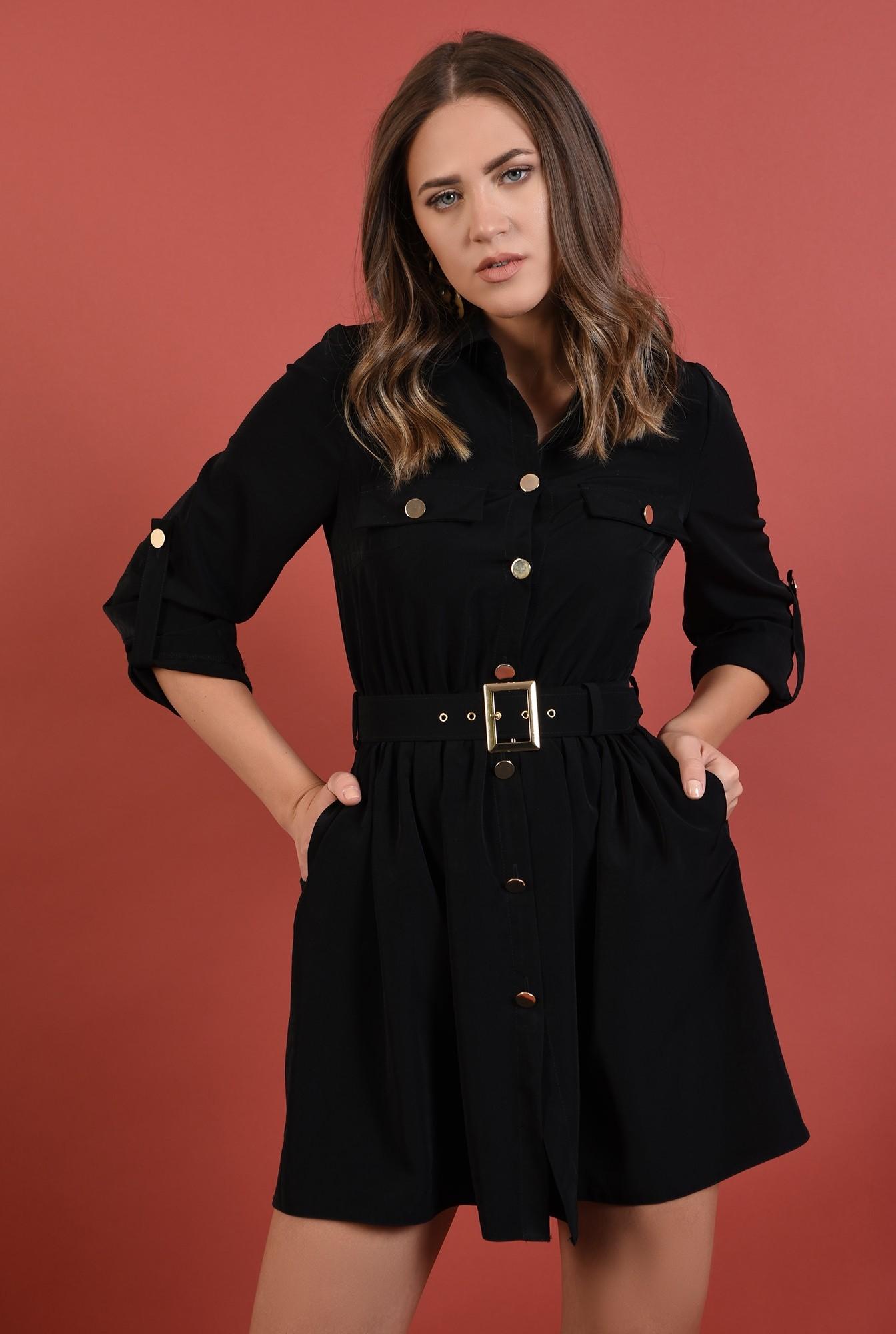 2 - rochie casual, neagra, scurta, maneci midi cu mansete, cu centura