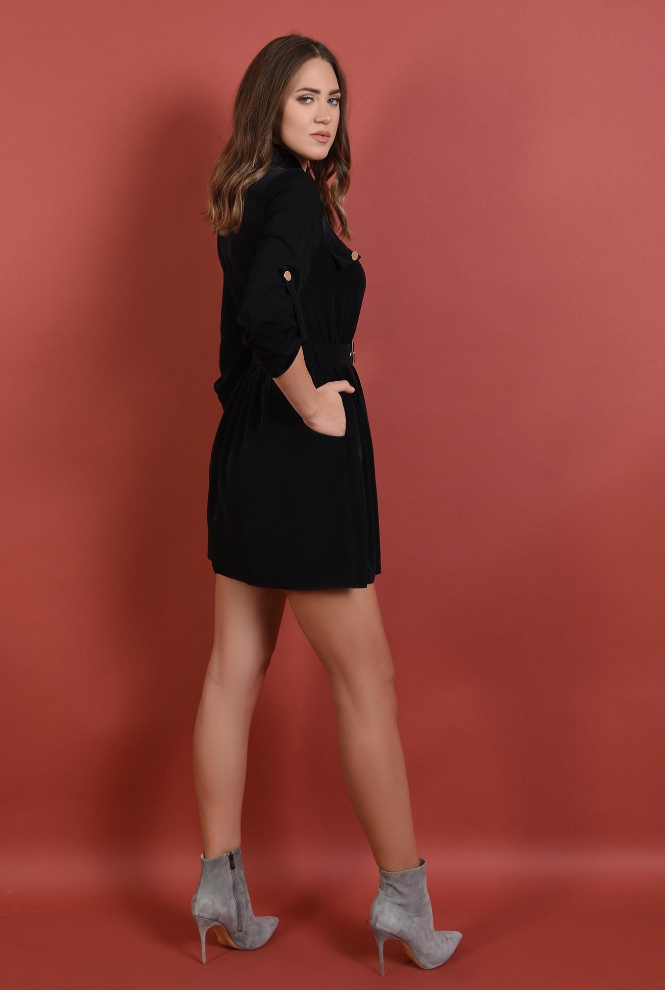 1 - rochie casual, neagra, scurta, maneci midi cu mansete, cu centura