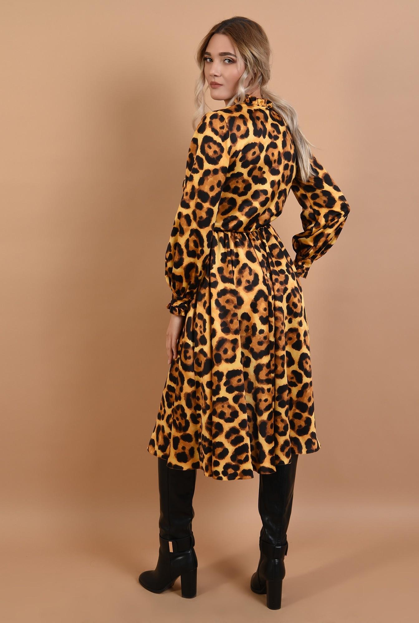 1 - rochie eleganta, din satin animal print, cu nasturi, cu guler, Poema