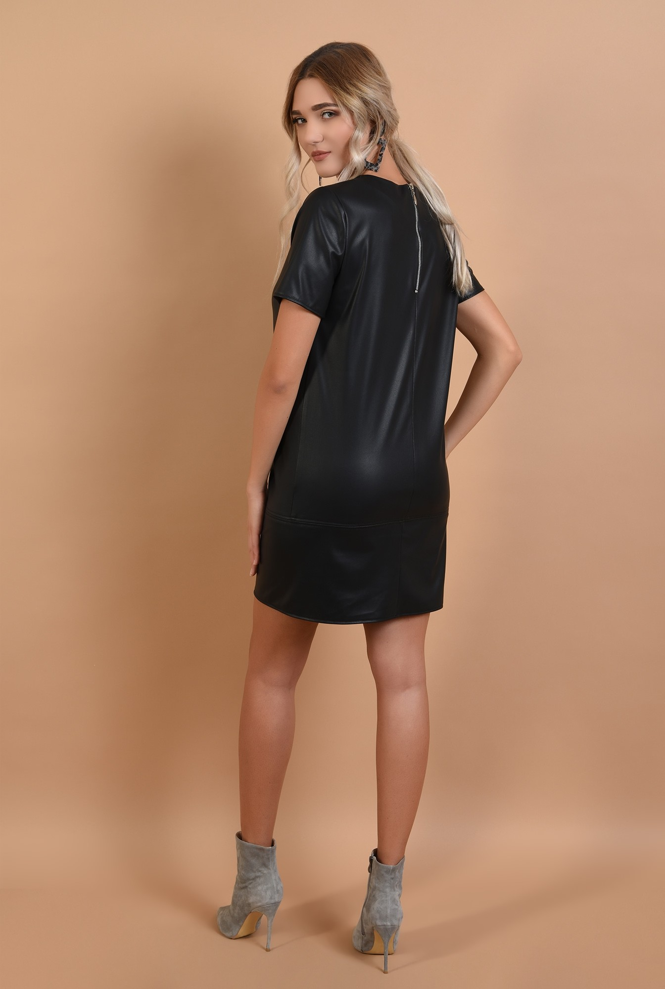 1 - rochie neagra, casual, din piele ecologica, Poema