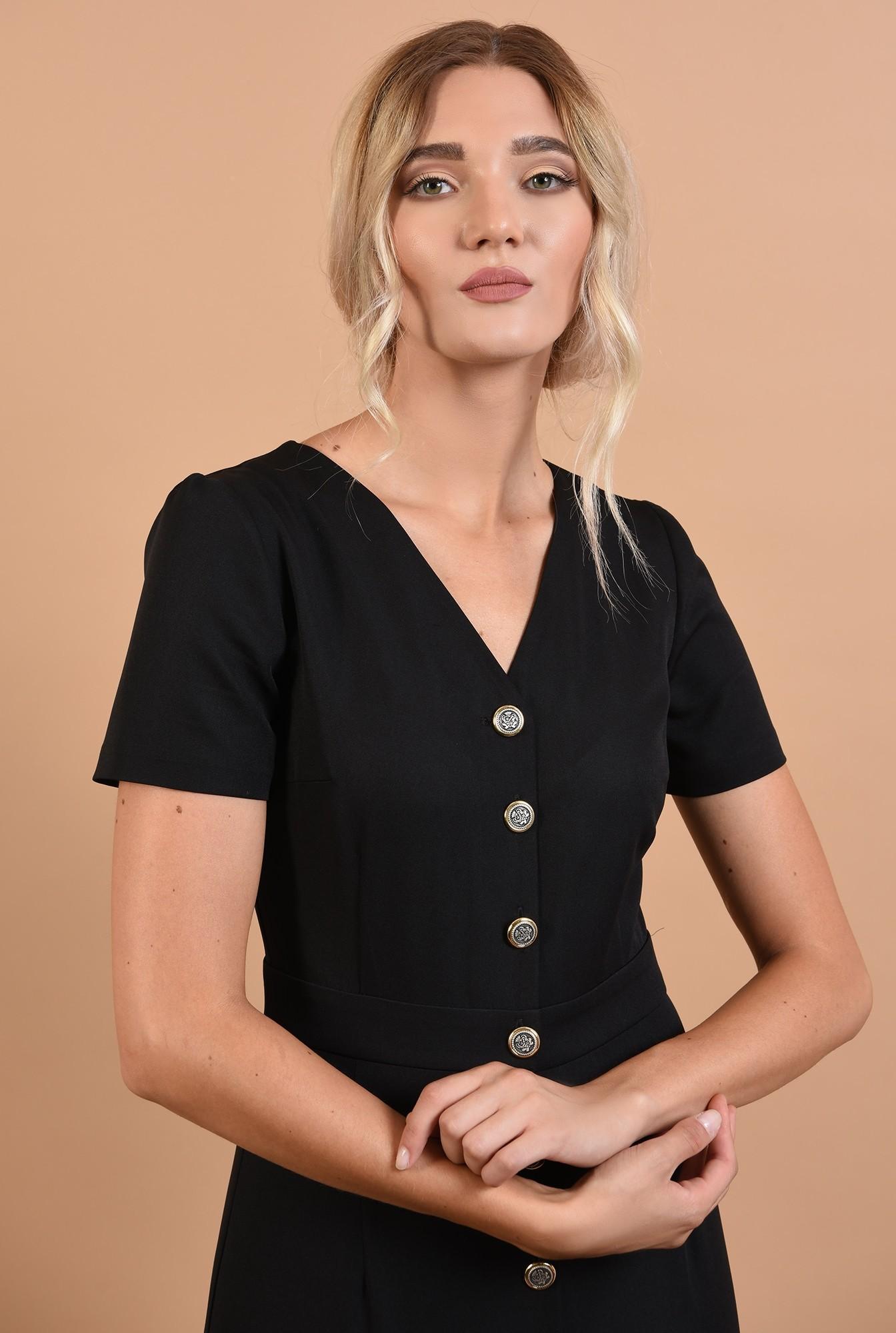 2 - 360 - rochie neagra, cu nasturi, anchior, maneci scurte, office