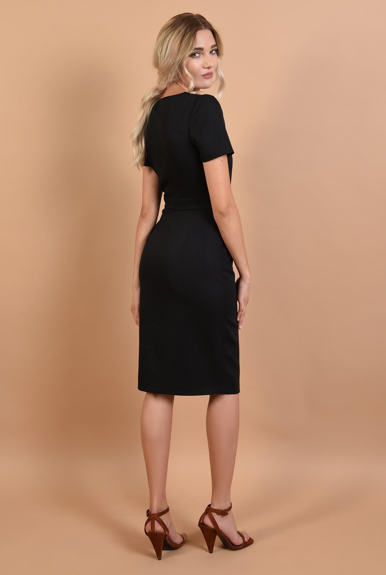 1 - 360 - rochie neagra, cu nasturi, anchior, maneci scurte, office