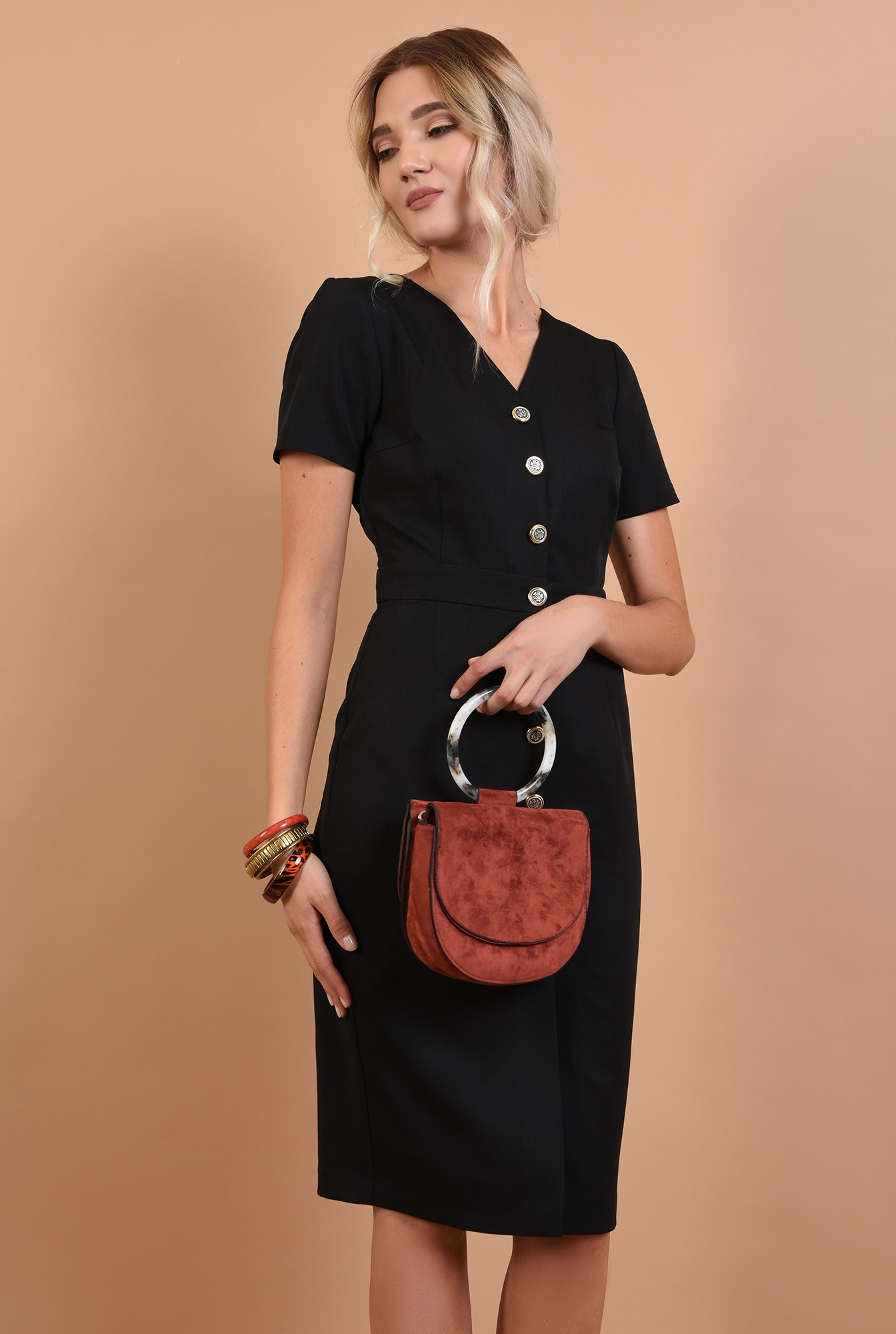 0 - 360 - rochie neagra, cu nasturi, anchior, maneci scurte, office