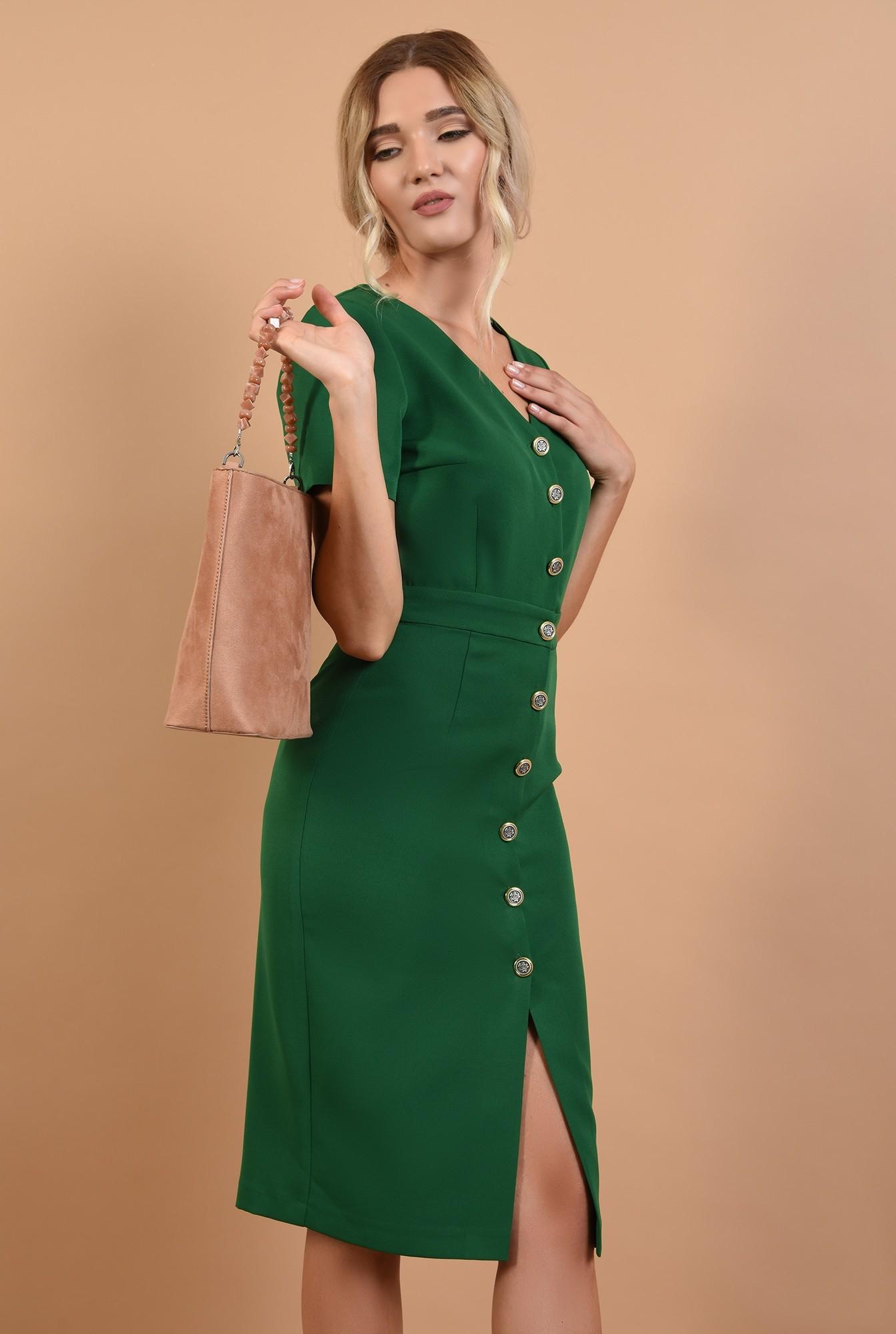 0 - 360 - rochie office online, midi, verde, cu nasturi, Poema