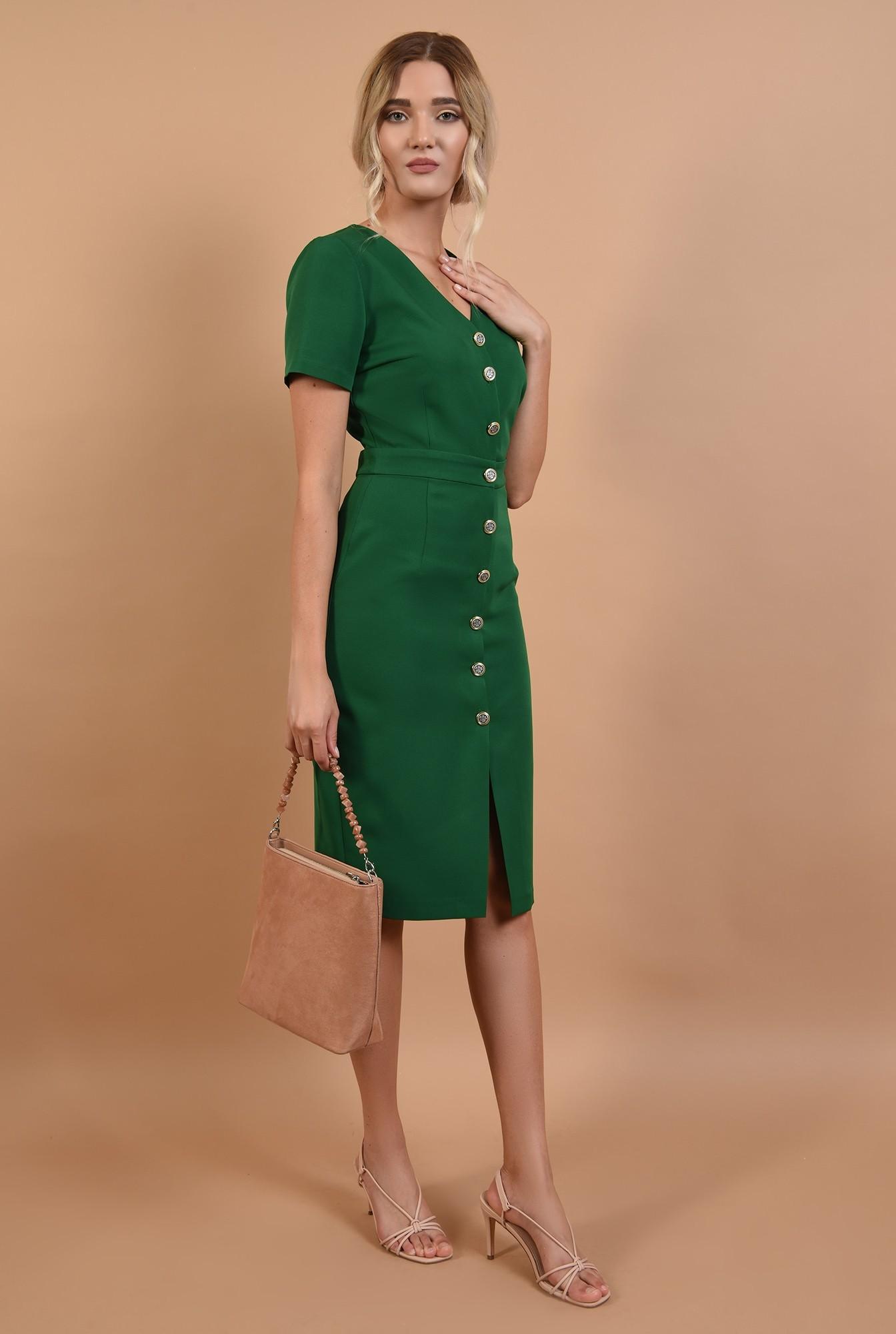 3 - 360 - rochie office online, midi, verde, cu nasturi, Poema