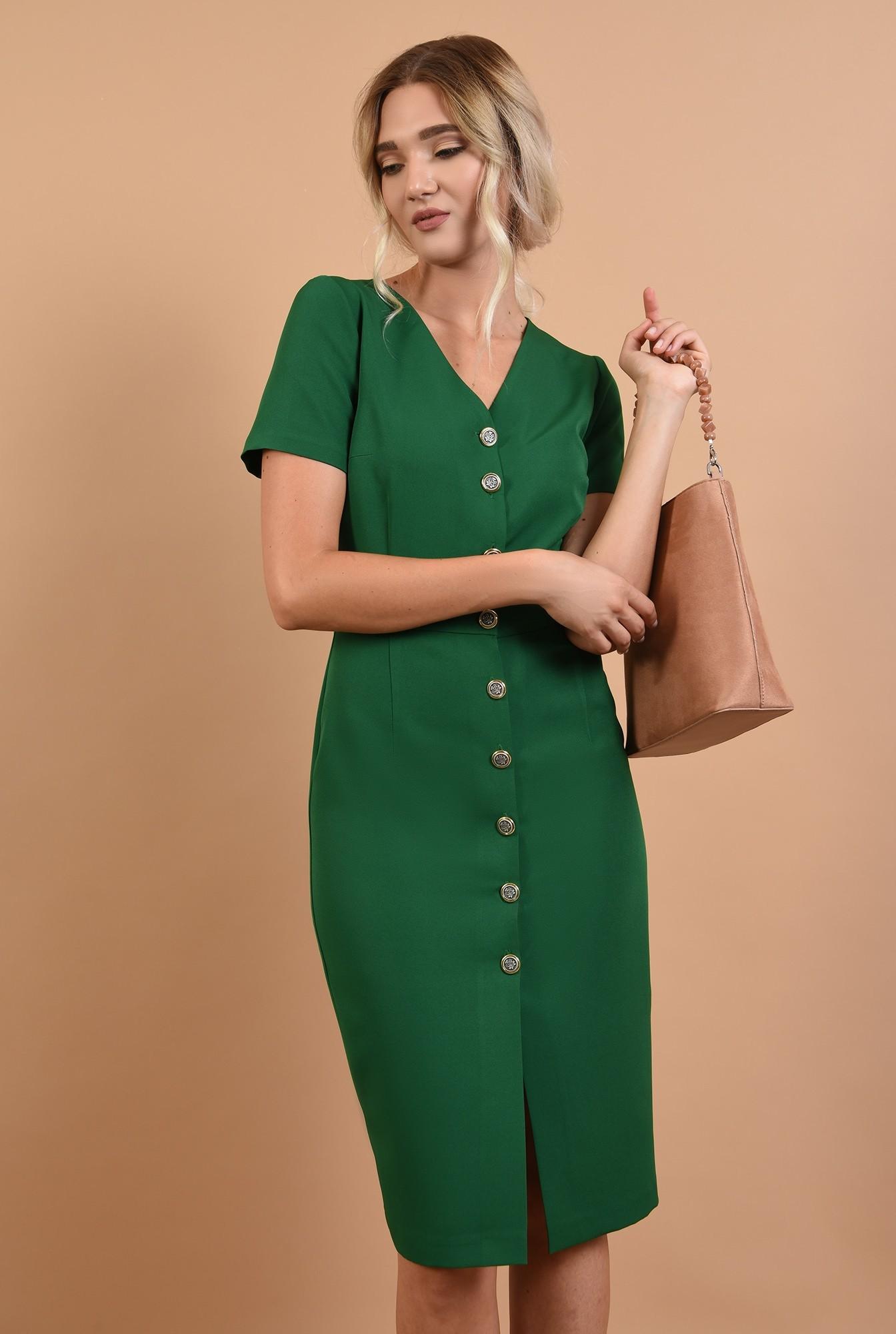 2 - 360 - rochie office online, midi, verde, cu nasturi, Poema