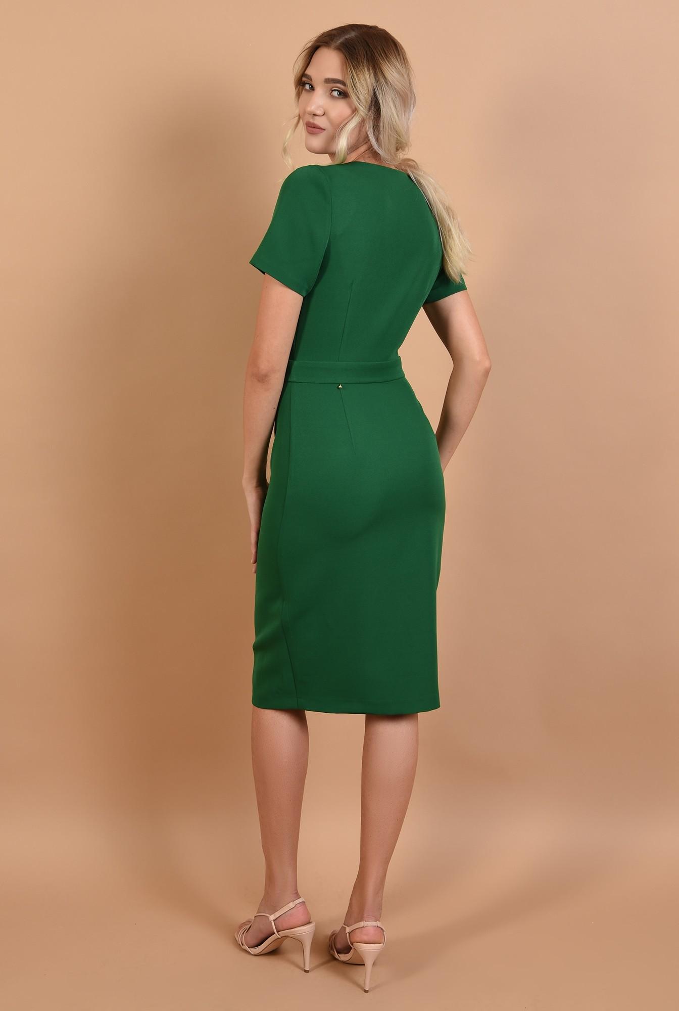 1 - 360 - rochie office online, midi, verde, cu nasturi, Poema