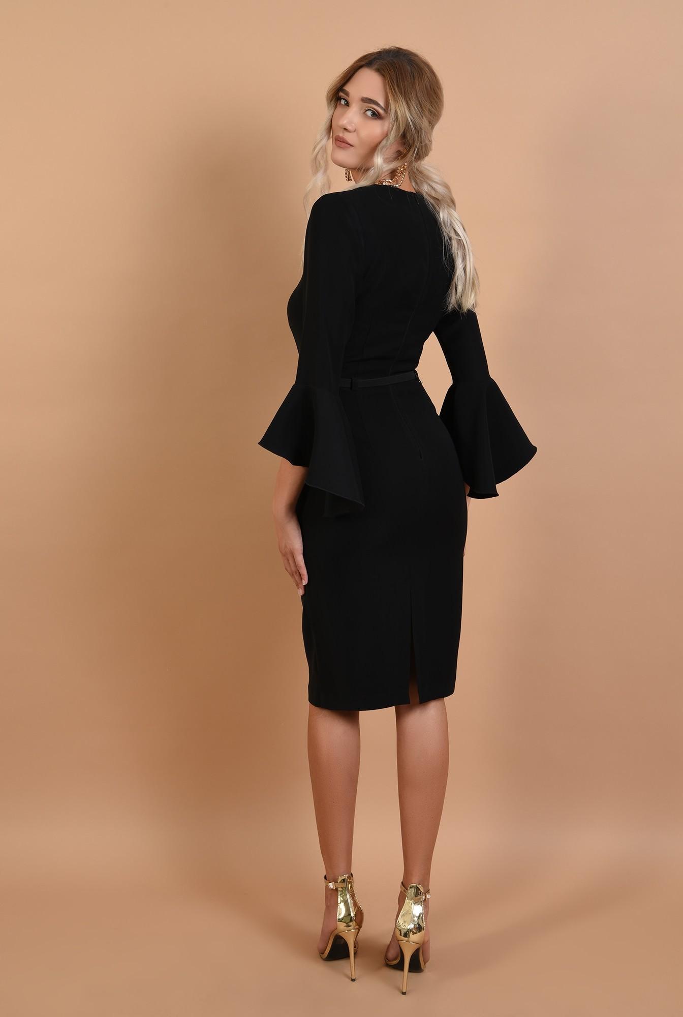 1 - rochie de ocazie, neagra, midi, conica, curea fina, Poema