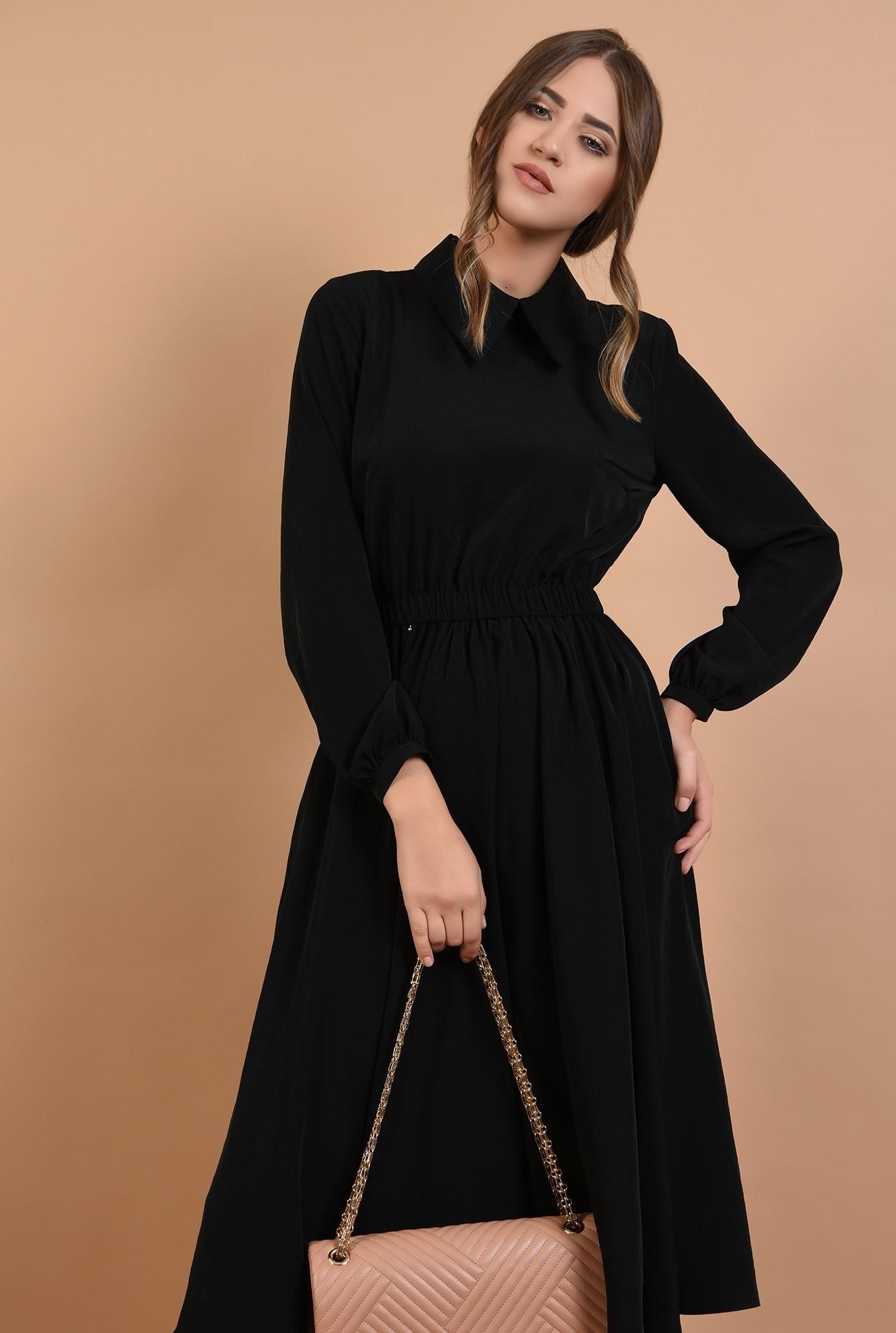 1 - 360 - rochie casual, midi, evazata, talie variabila, guler ascutit
