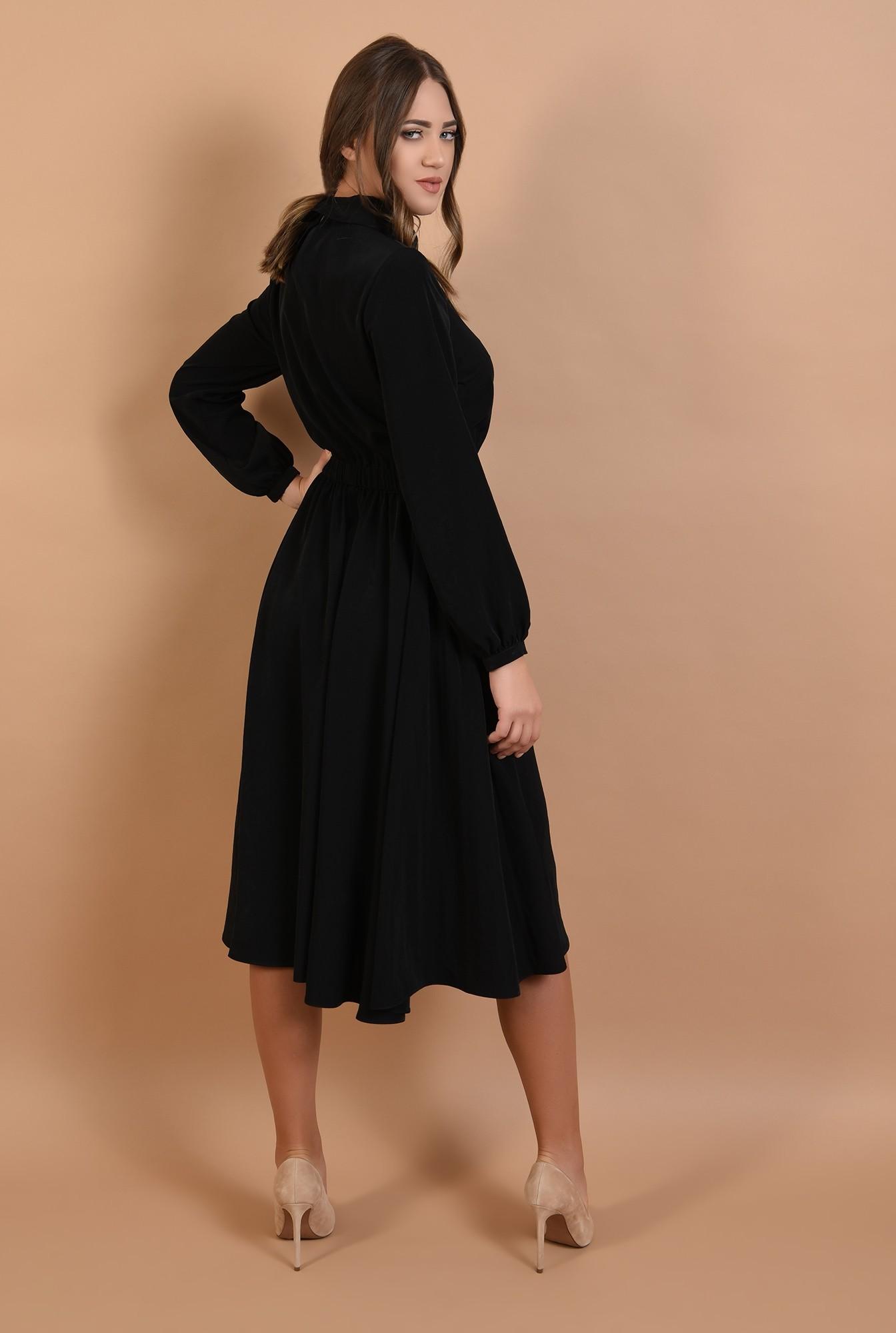 2 - 360 - rochie casual, midi, evazata, talie variabila, guler ascutit
