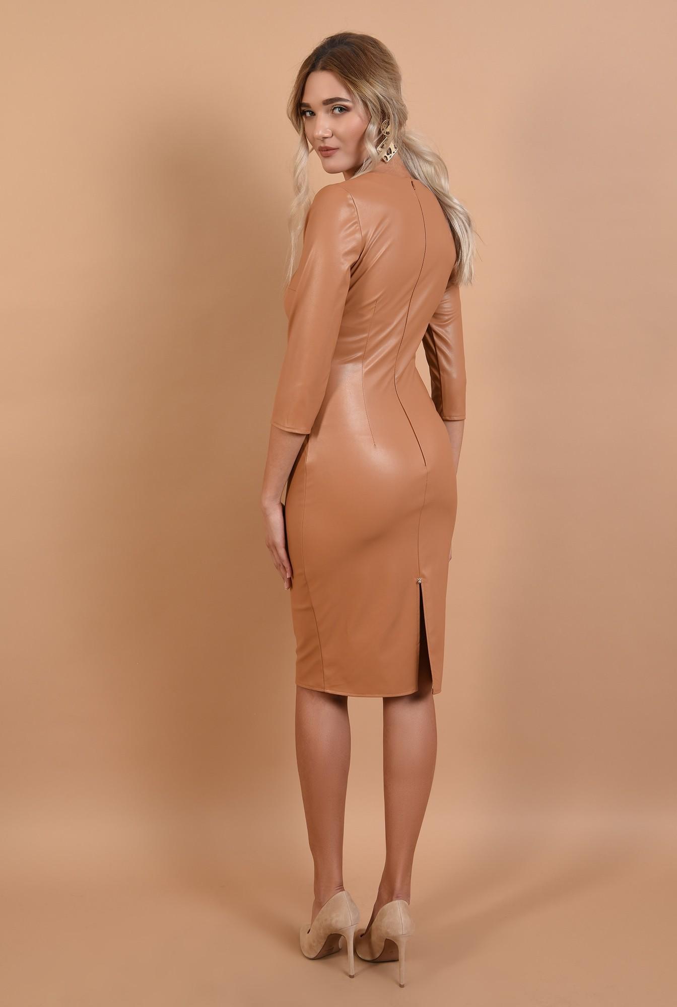 1 - 360 - rochie bej, piele ecologica, Poema, stretch, cusatura mediana