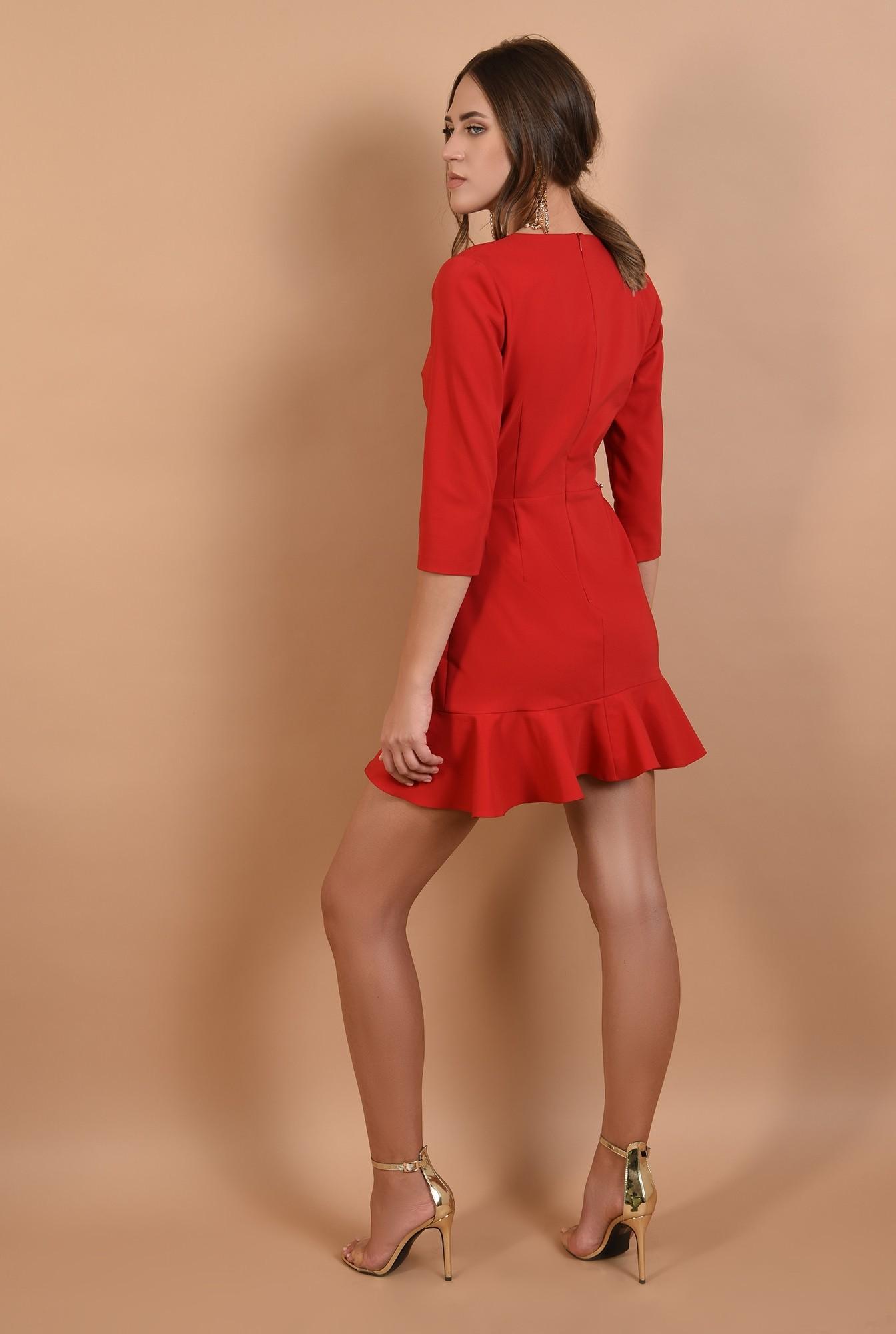1 - rochie de ocazie, rosie, Poema, croi petrecut, volane