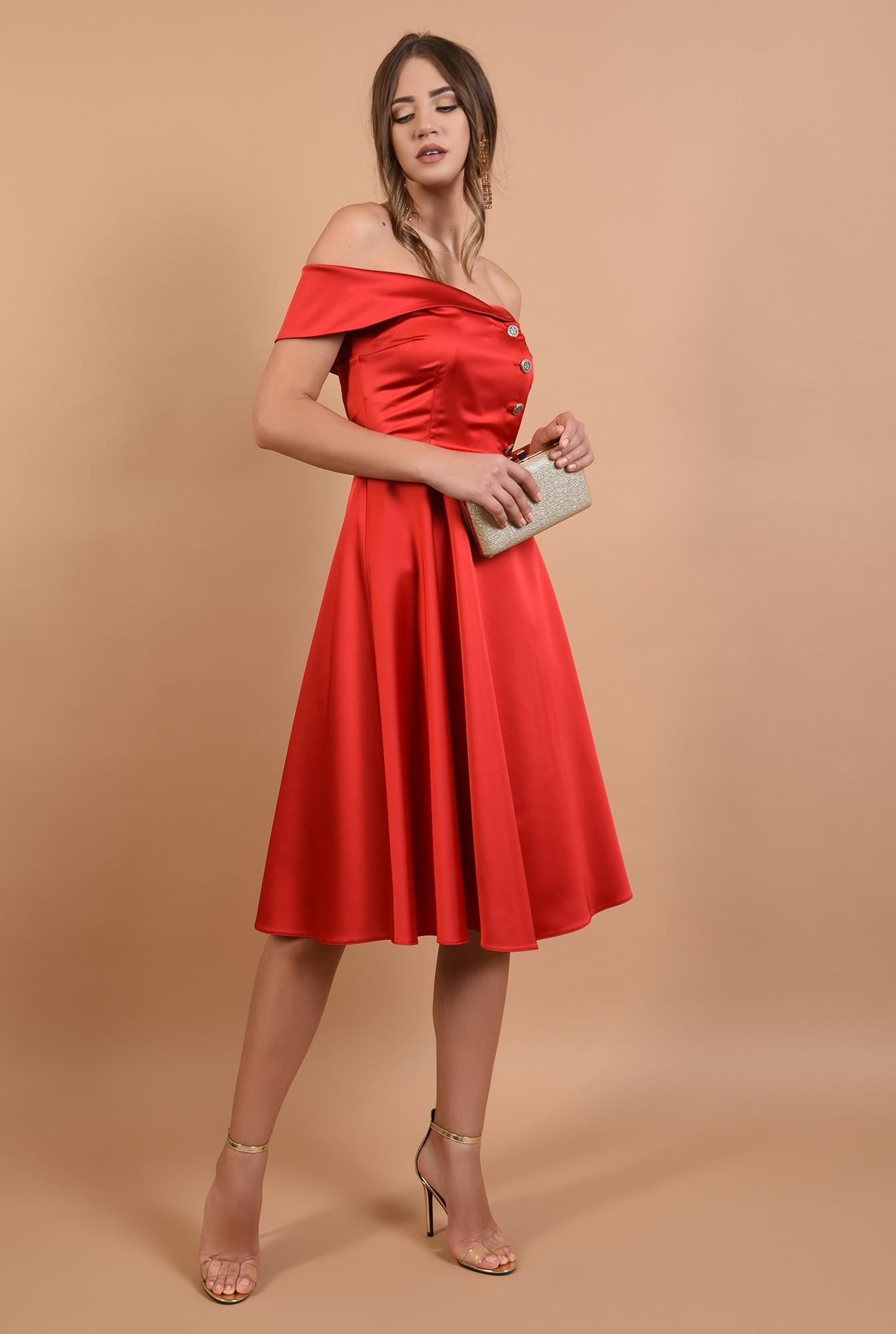 3 - 360 - rochie de ocazie, rosie, evazata, cu umeri goi
