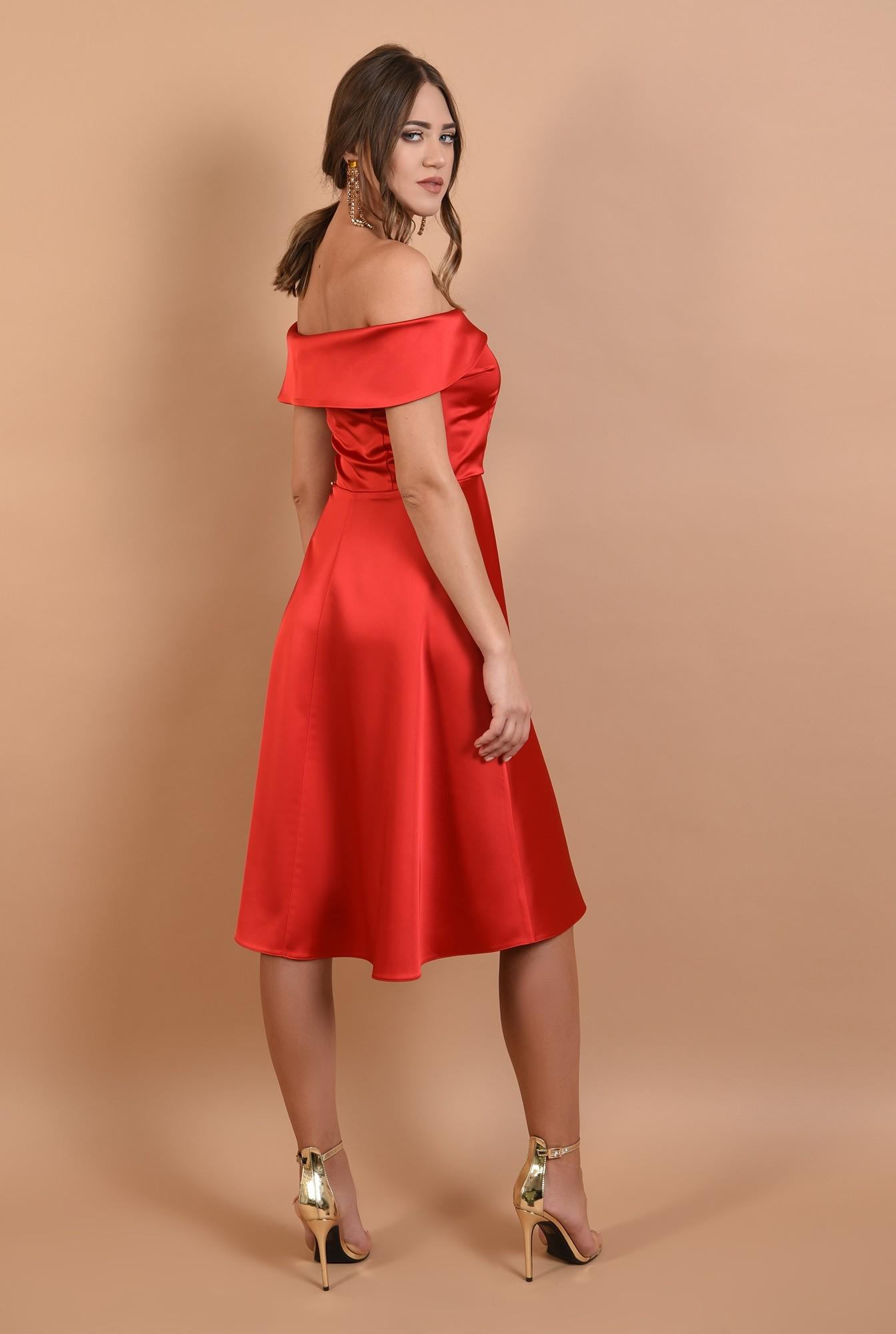 1 - 360 - rochie de ocazie, rosie, evazata, cu umeri goi