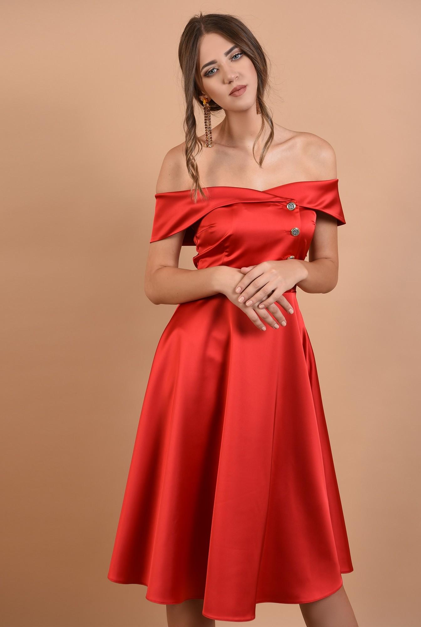 0 - 360 - rochie de ocazie, rosie, evazata, cu umeri goi