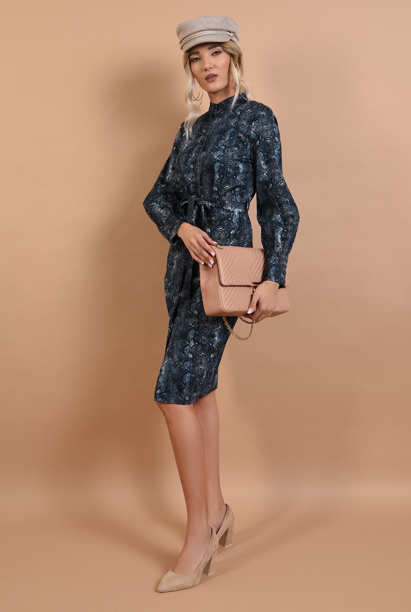 3 - rochie casual, Poema, animal print, snake, bleumarin, bumbac