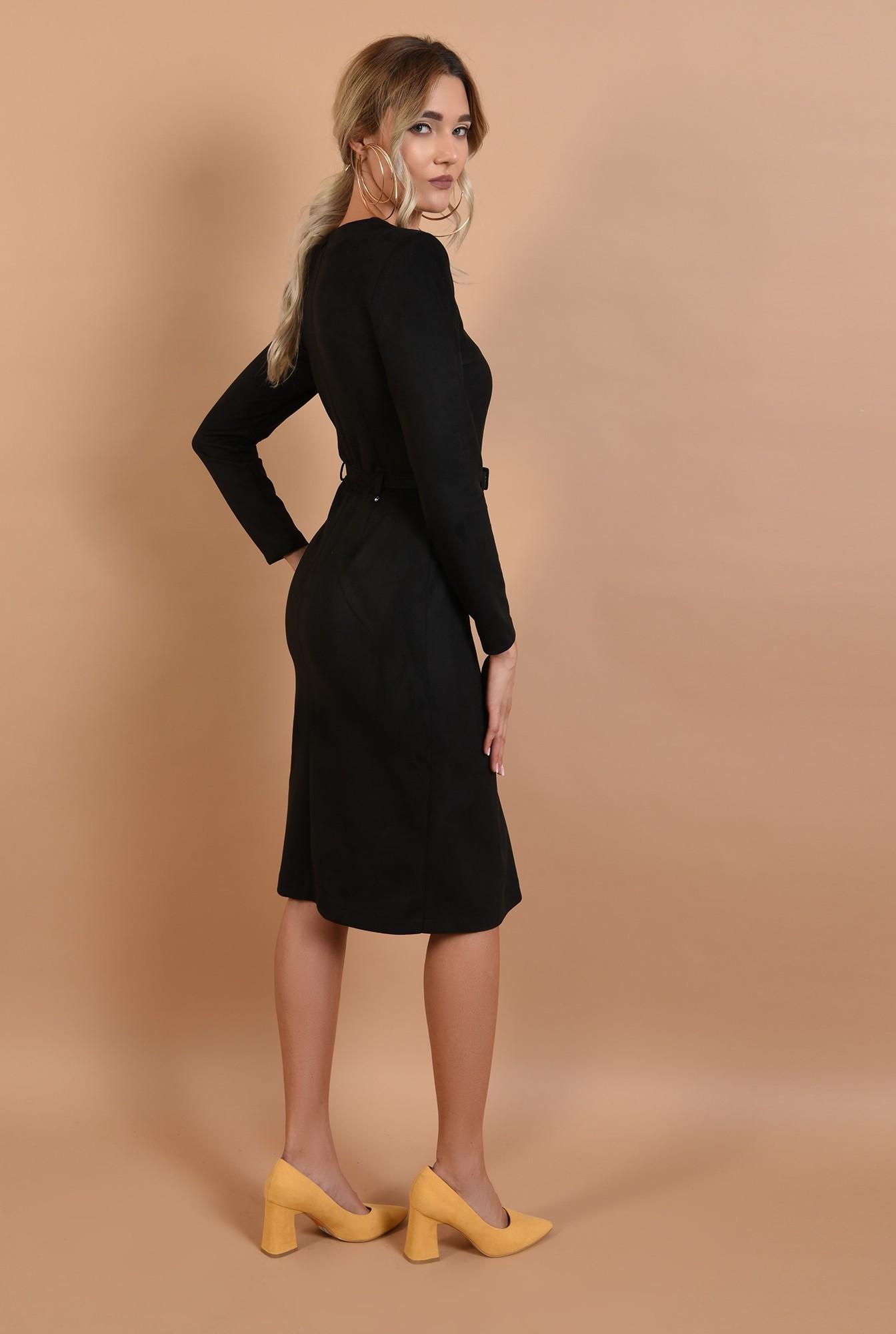 1 - rochie de zi, midi, piele intoarsa ecologica, cu nasturi, curea