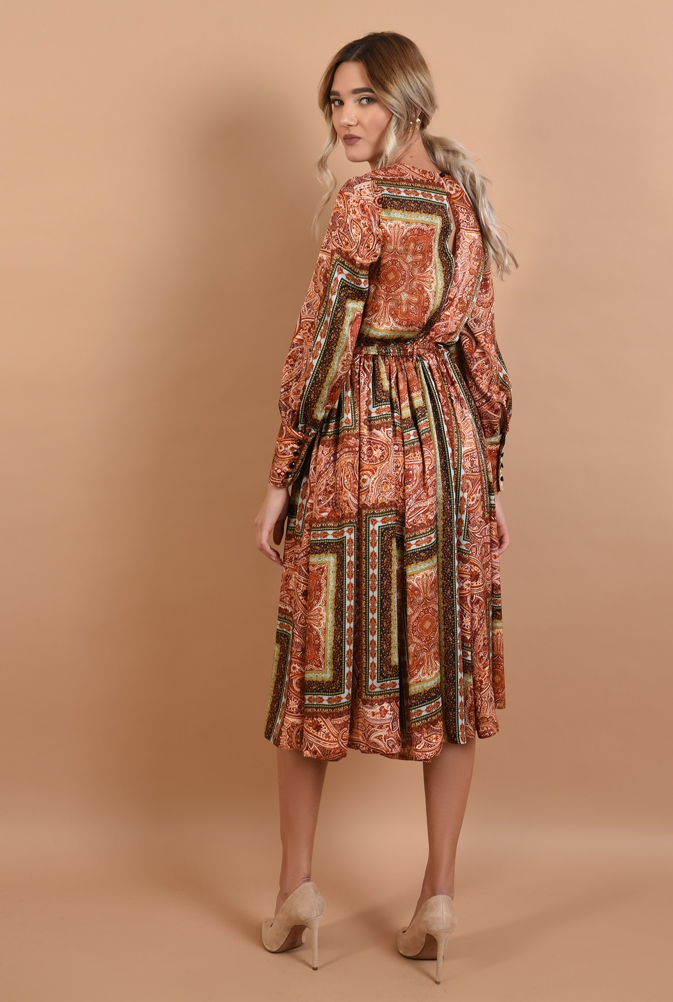1 - 360 - rochie evazata, midi, satin imprimat, cu cordon, cu mansete