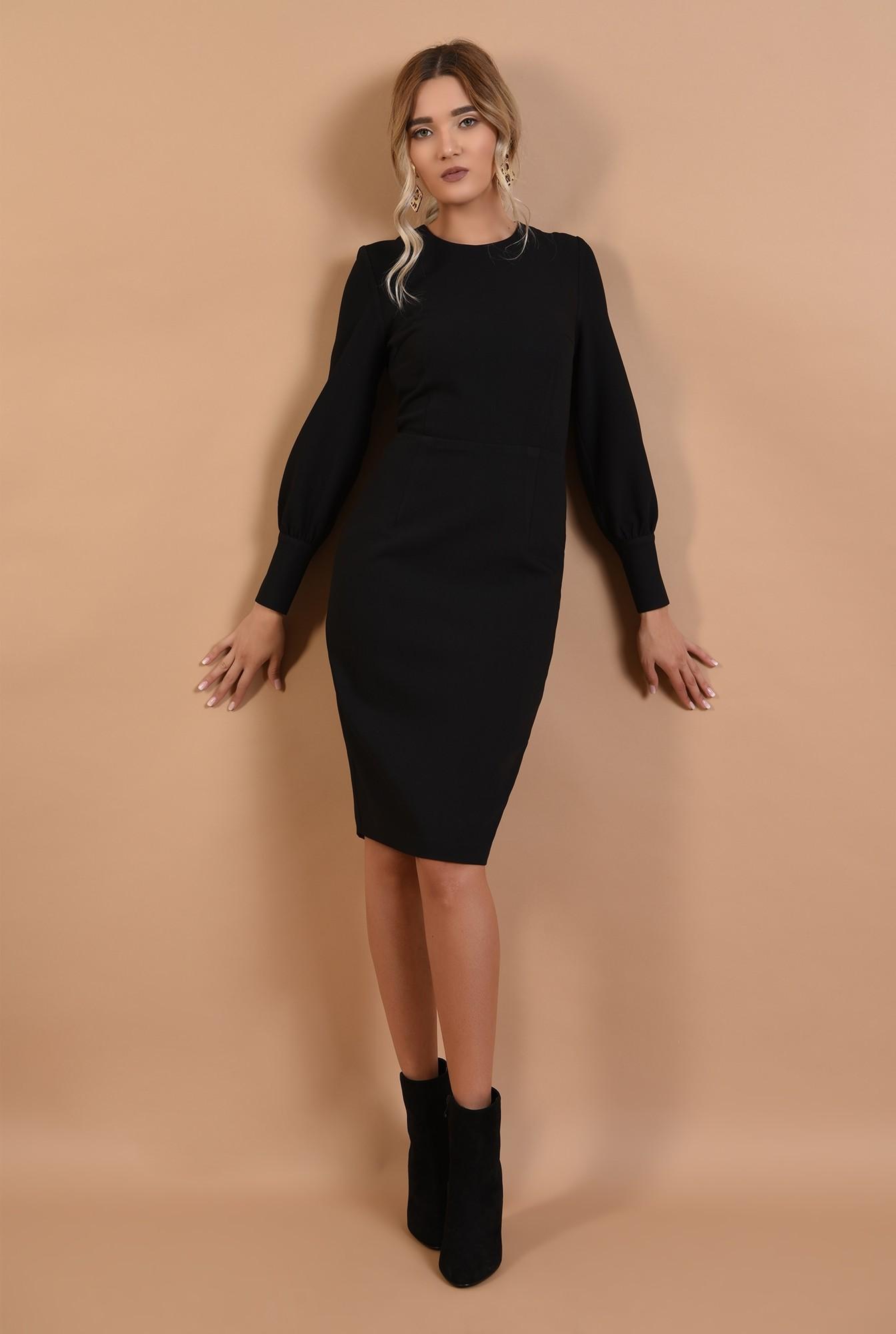 3 - rochie office, neagra, conica, lungime midi, mansete cu nasturi perla