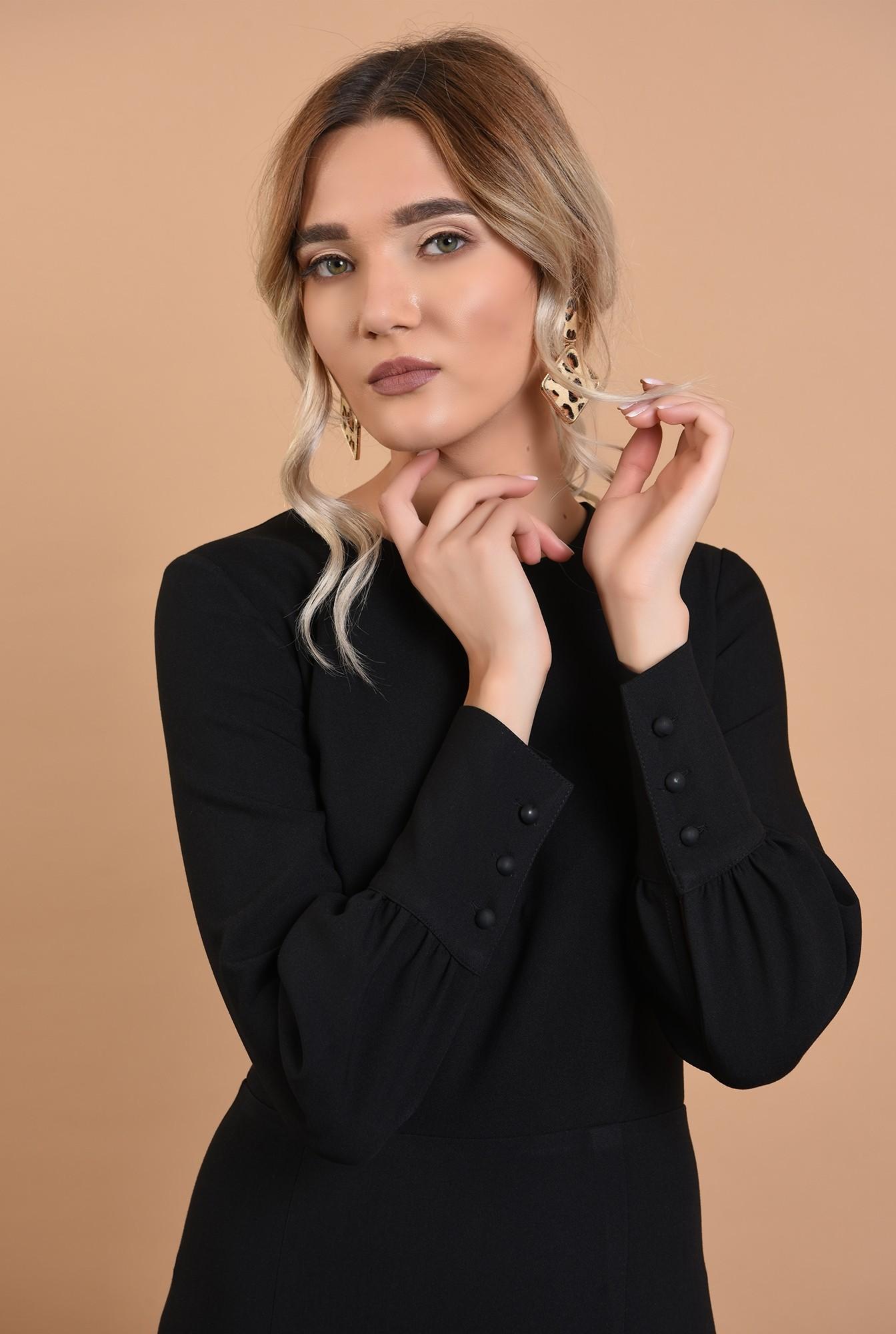 2 - rochie office, neagra, conica, lungime midi, mansete cu nasturi perla